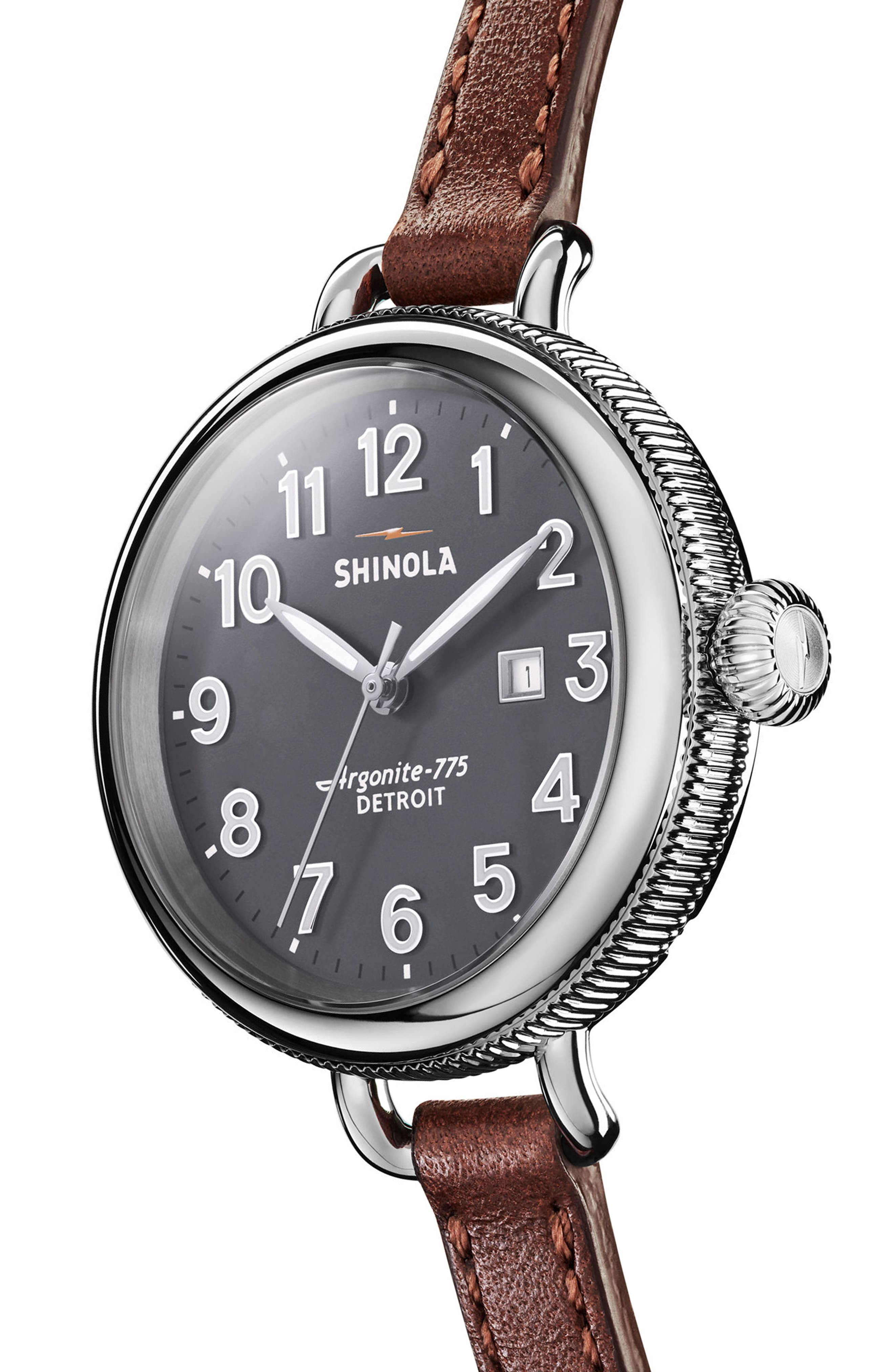 The Birdy Leather Strap Watch, 34mm,                             Alternate thumbnail 3, color,                             200