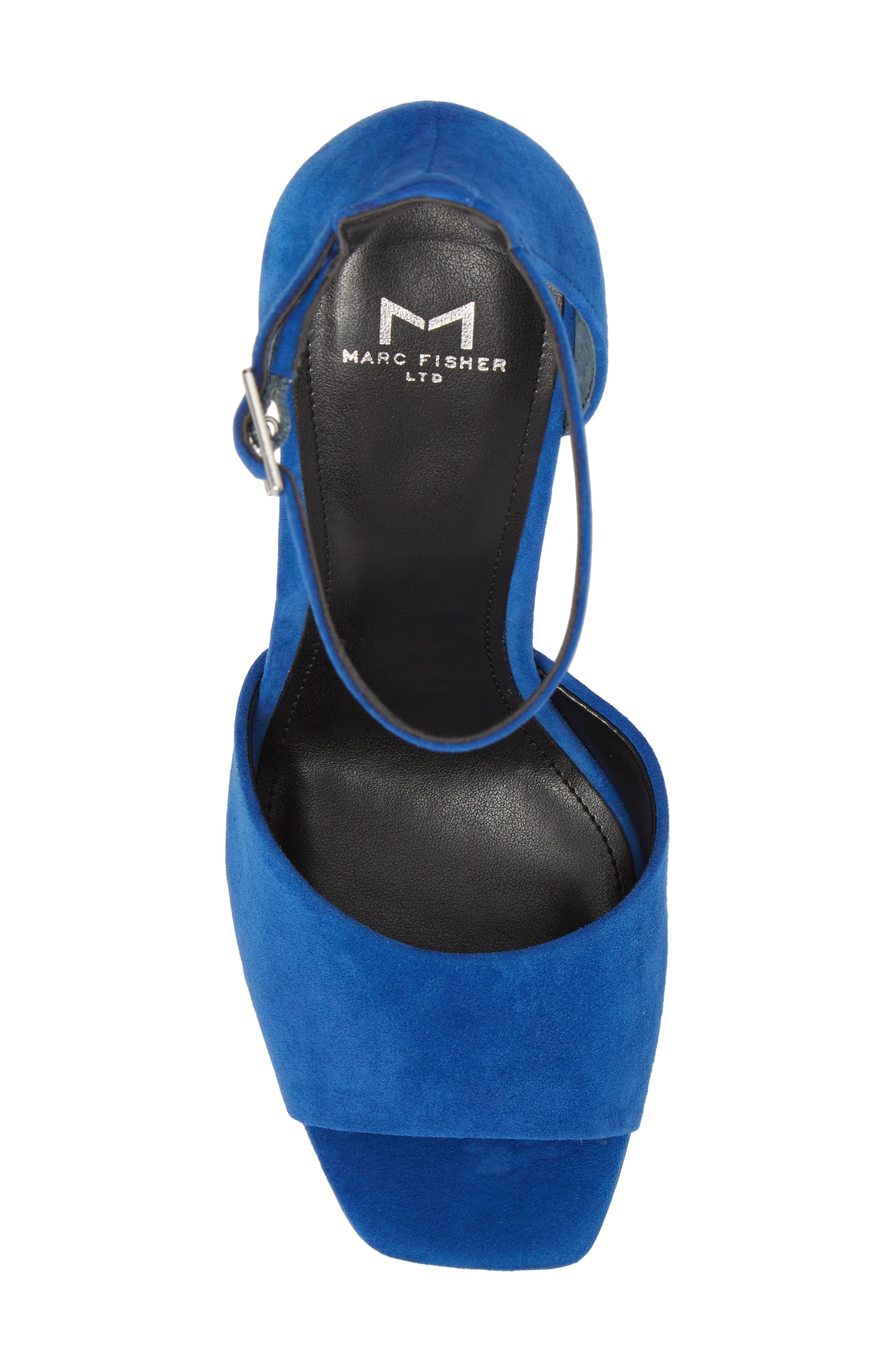 Harlin Ankle Strap Sandal,                             Alternate thumbnail 5, color,                             BLUE SUEDE