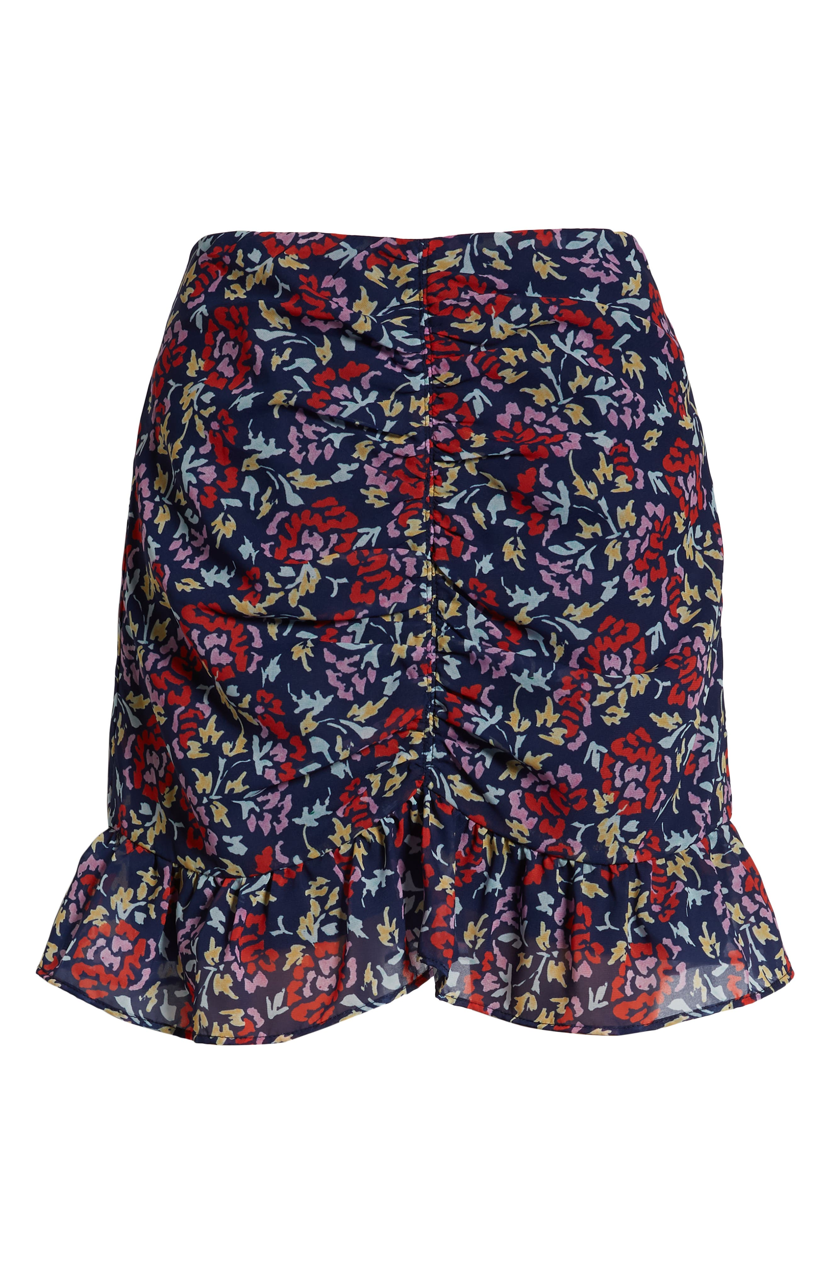 THE FIFTH LABEL,                             Ruched Floral Print Miniskirt,                             Alternate thumbnail 6, color,                             NAVY/ SCARLET WATERCOLOR