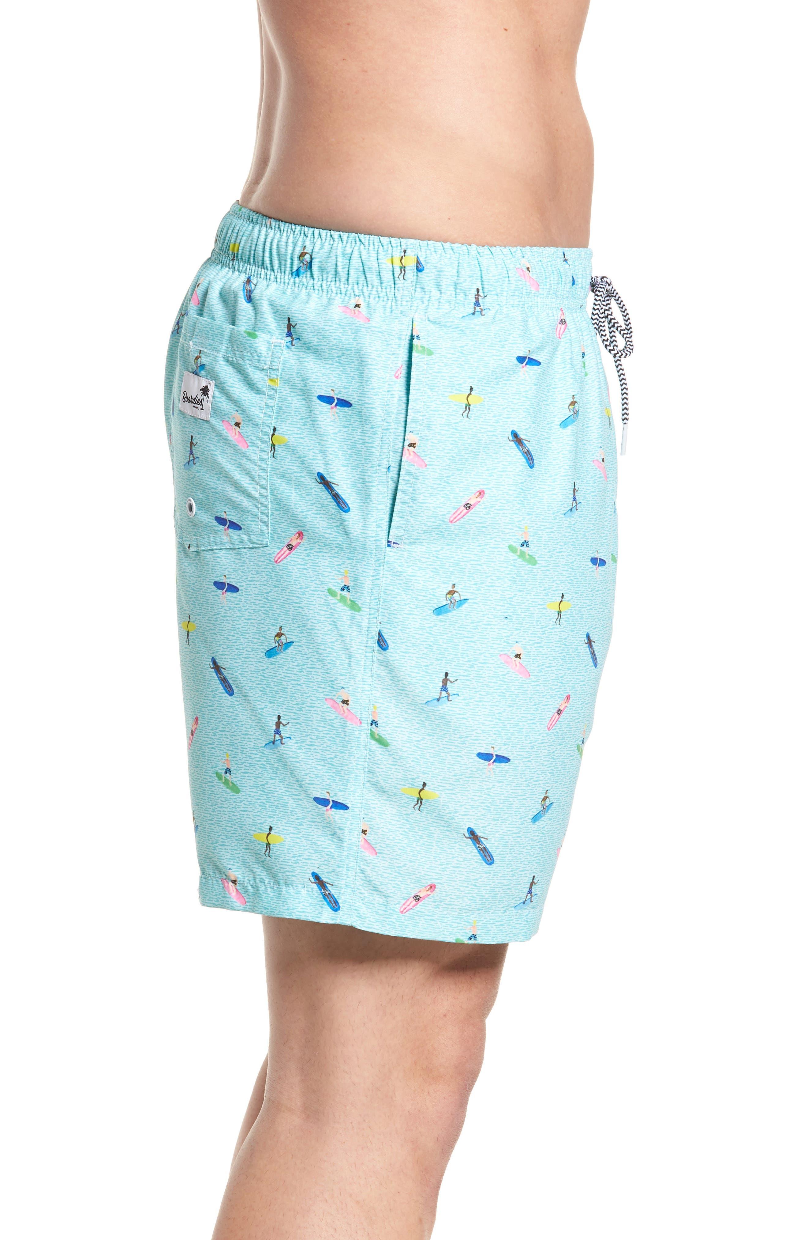 Sayulita Print Swim Shorts,                             Alternate thumbnail 3, color,                             AQUA GREEN