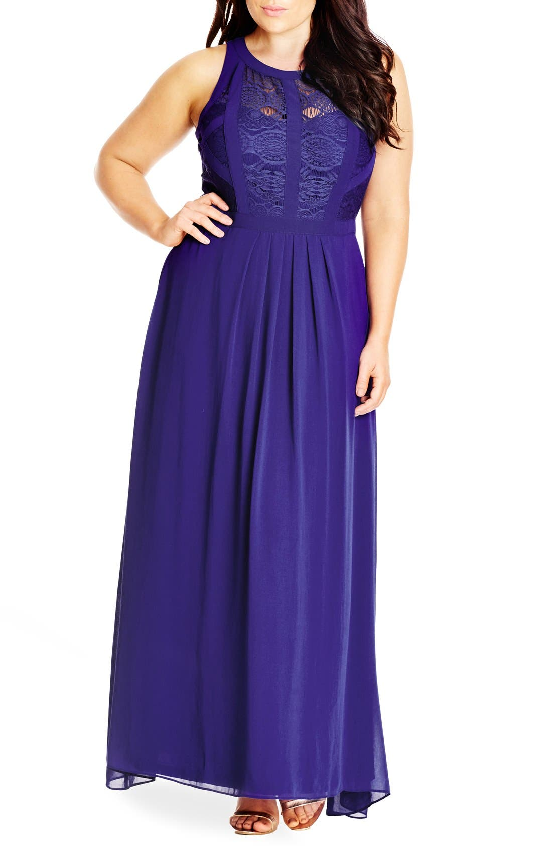 Paneled Lace Bodice Gown,                             Main thumbnail 9, color,