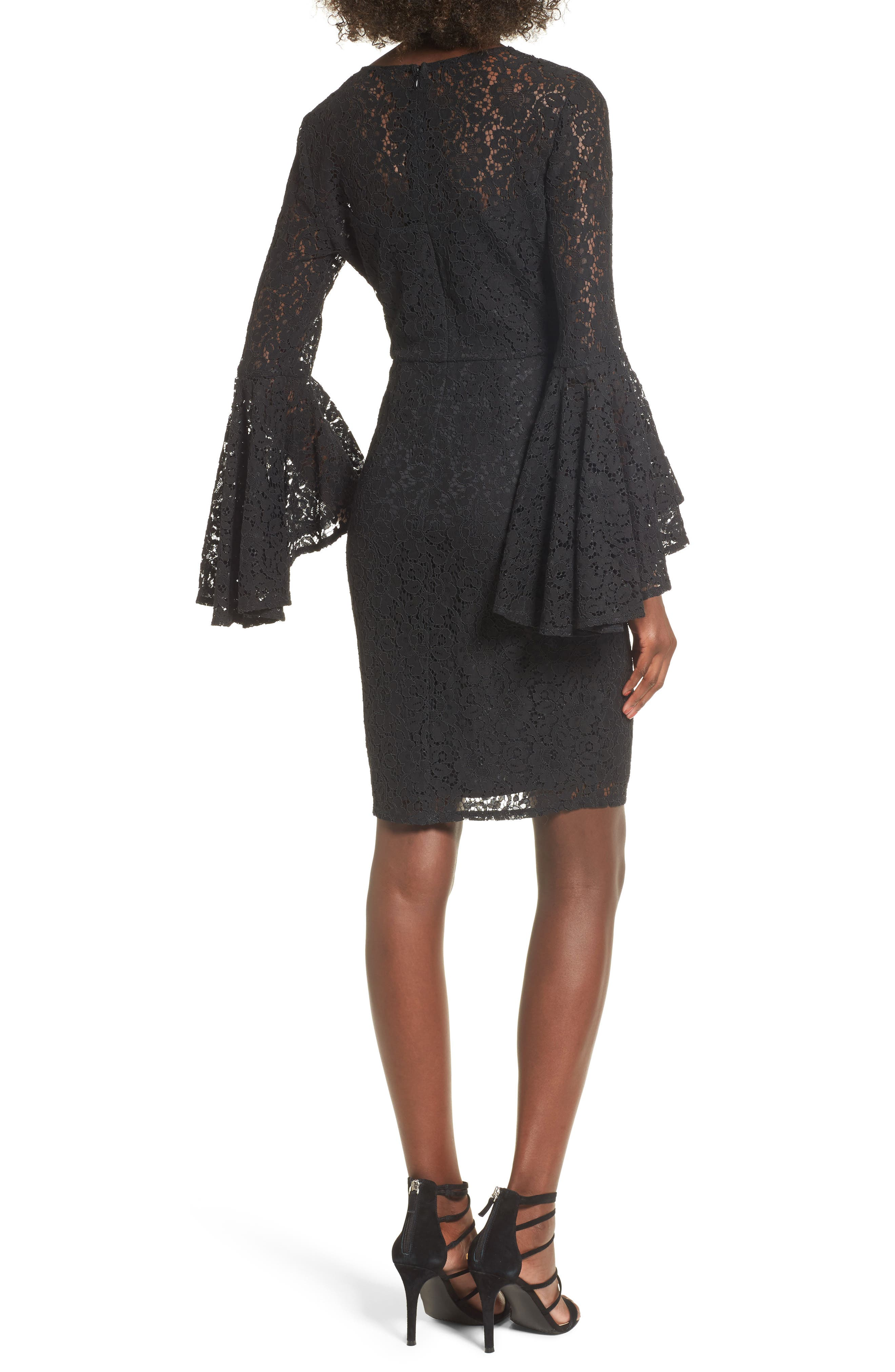 Lace Bell Sleeve Dress,                             Alternate thumbnail 2, color,
