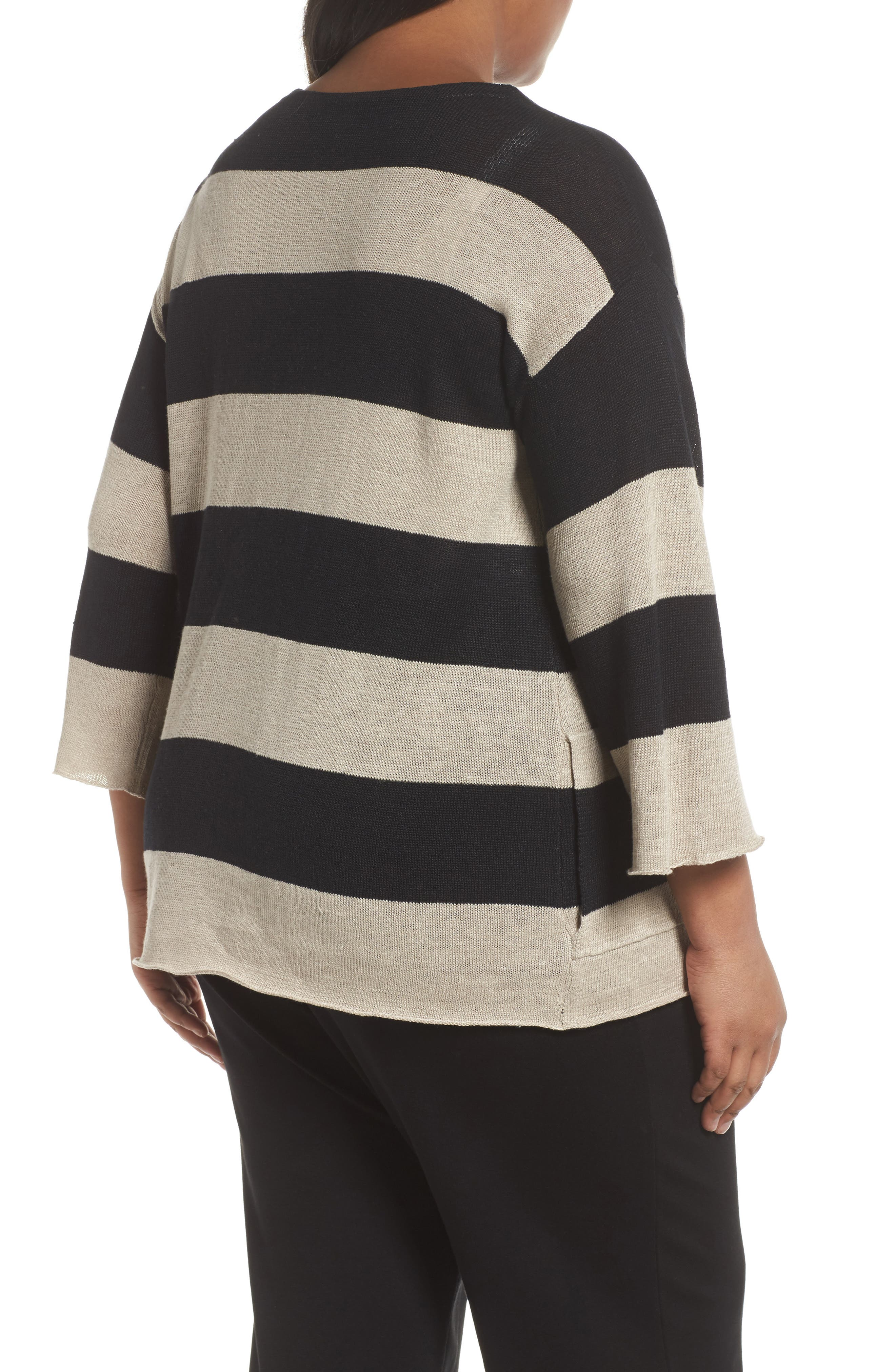 Stripe Linen Sweater,                             Alternate thumbnail 2, color,                             008