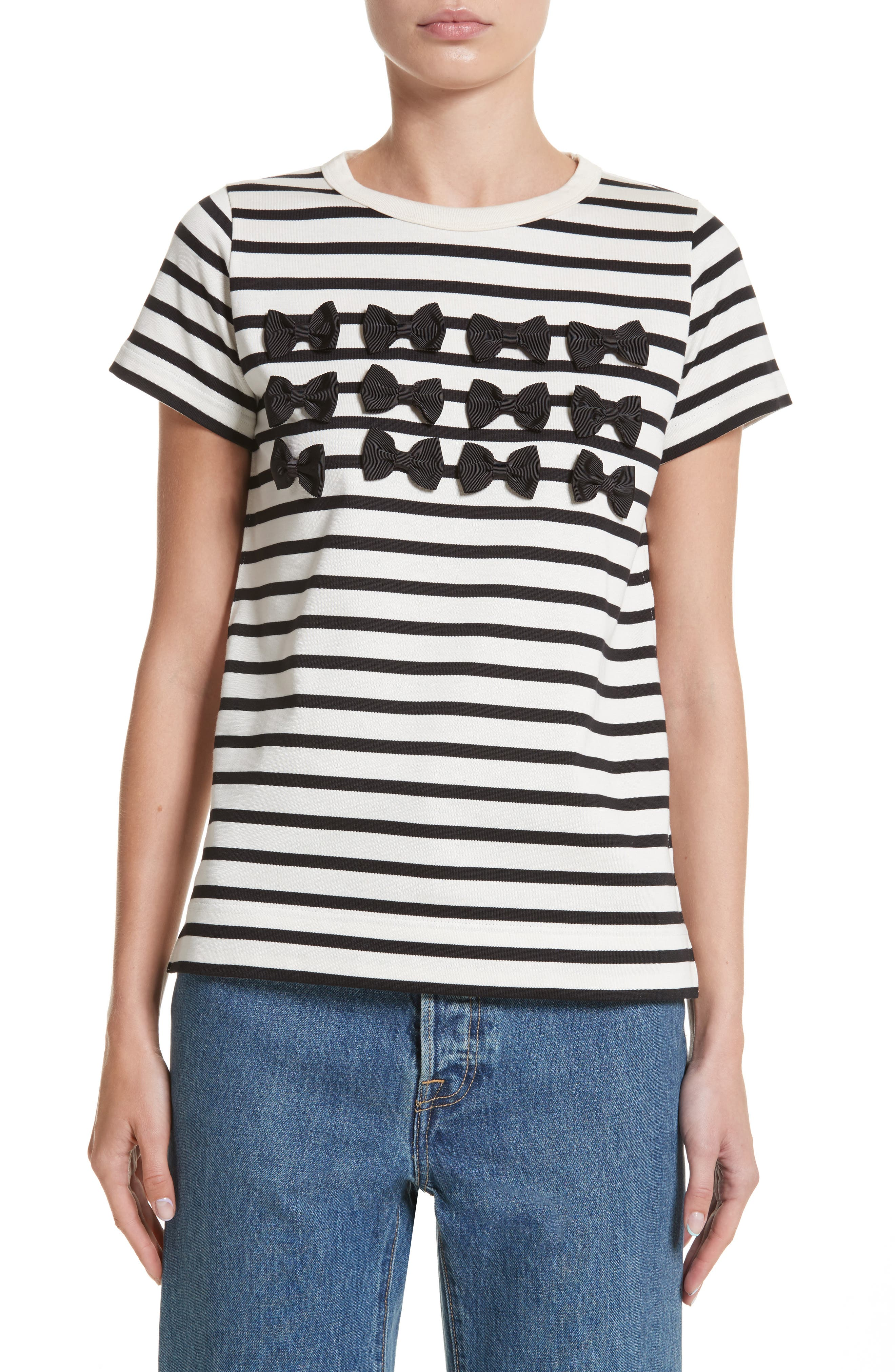 Grosgrain Bow Stripe Tee,                             Main thumbnail 1, color,                             900