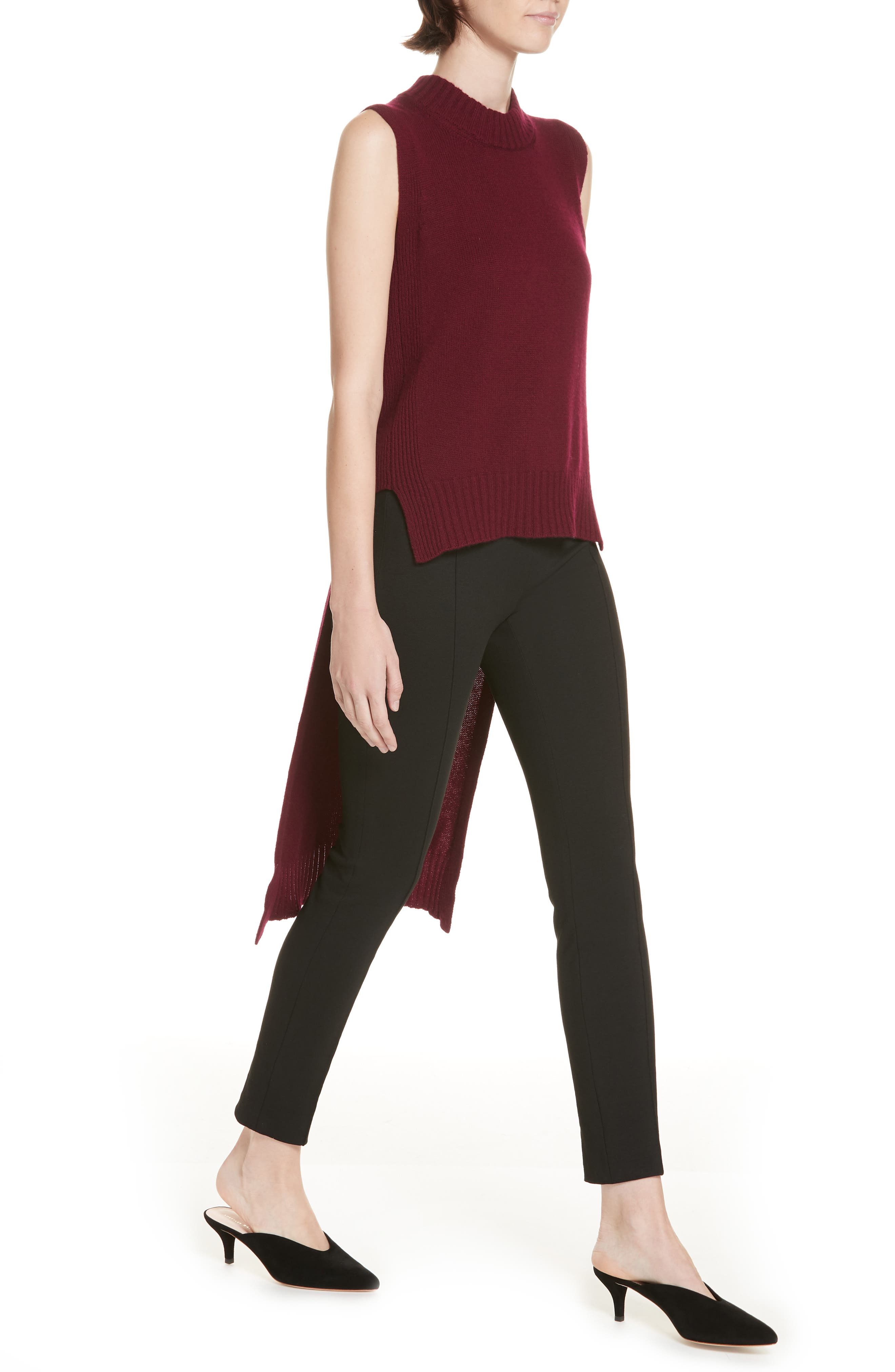 High/Low Wool & Cashmere Sweater,                             Alternate thumbnail 4, color,                             MAROON