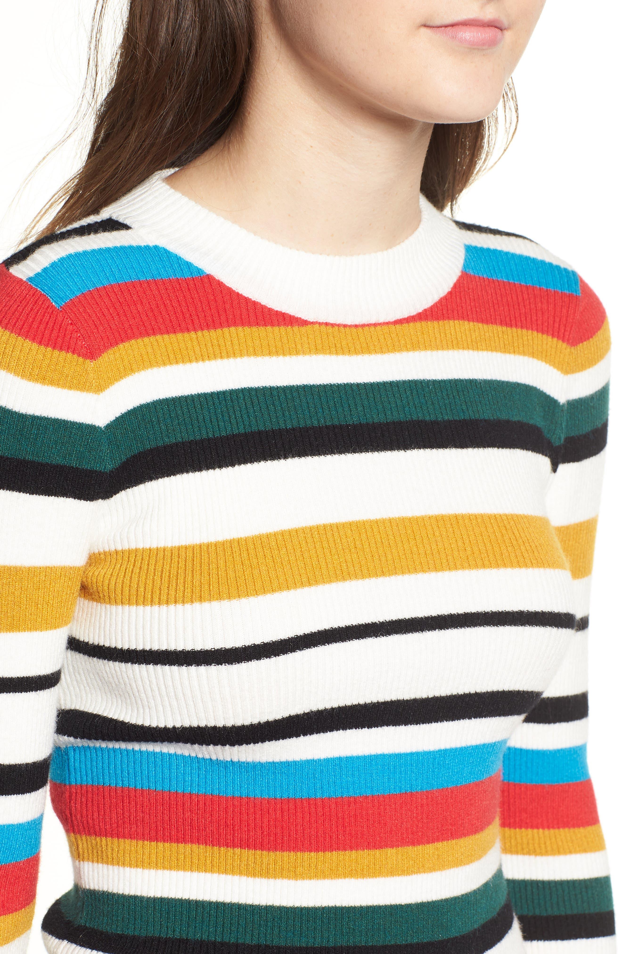 Stripe Rib Knit Sweater,                             Alternate thumbnail 4, color,                             100