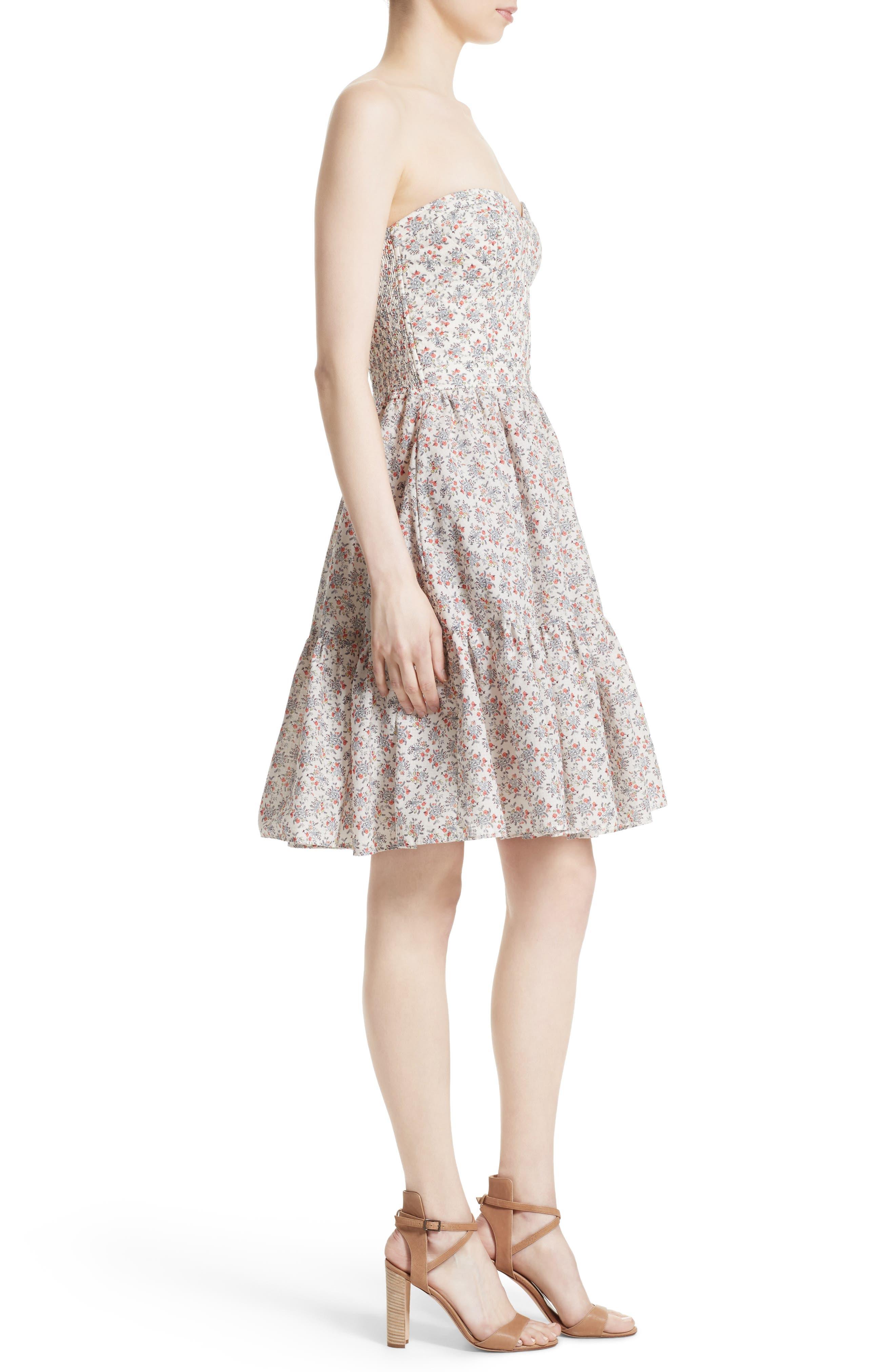 Provençal Strapless Dress,                             Alternate thumbnail 3, color,                             900