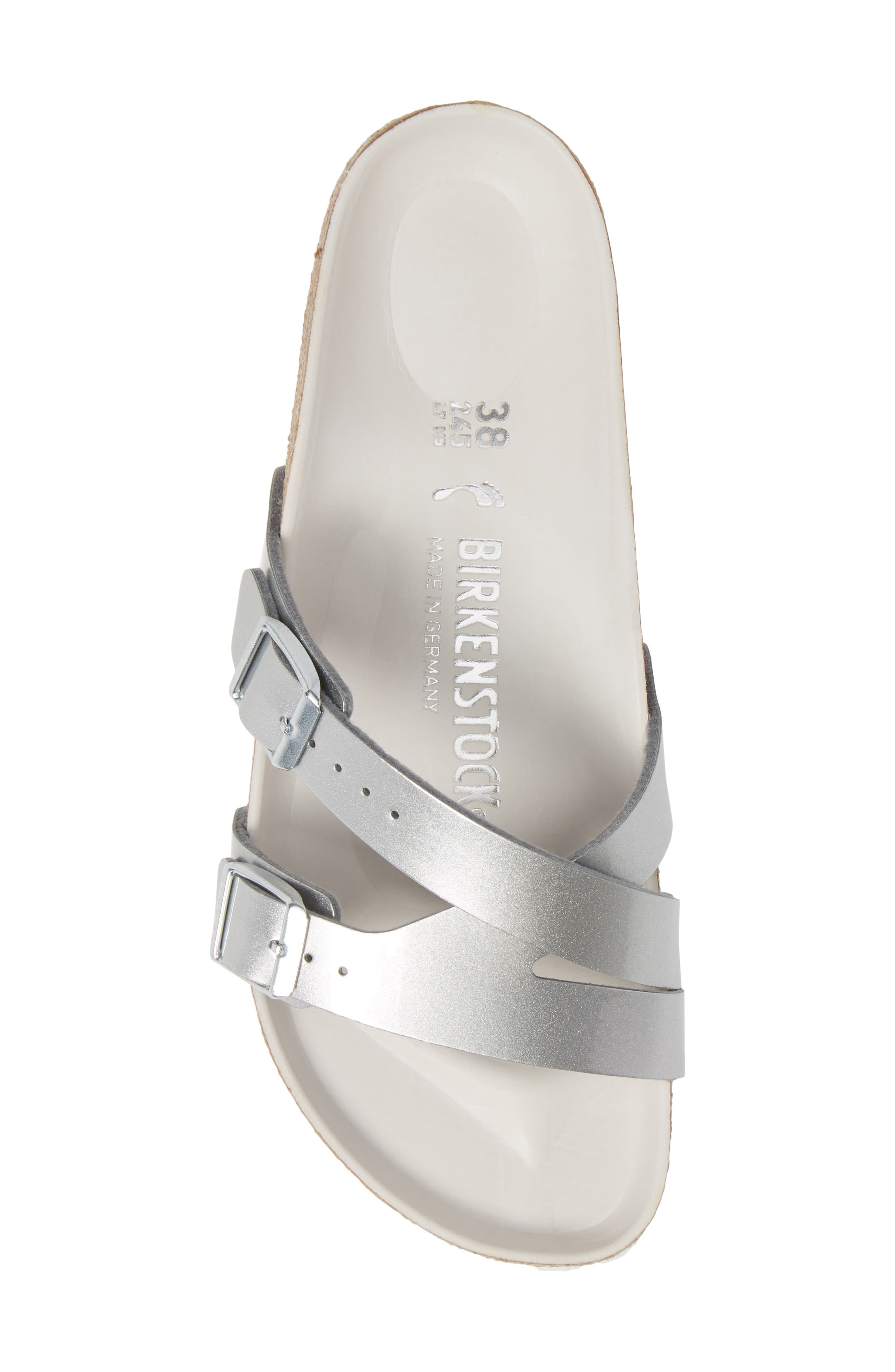 BIRKENSTOCK,                             Yao Metallic Slide Sandal,                             Alternate thumbnail 5, color,                             METALLIC SILVER