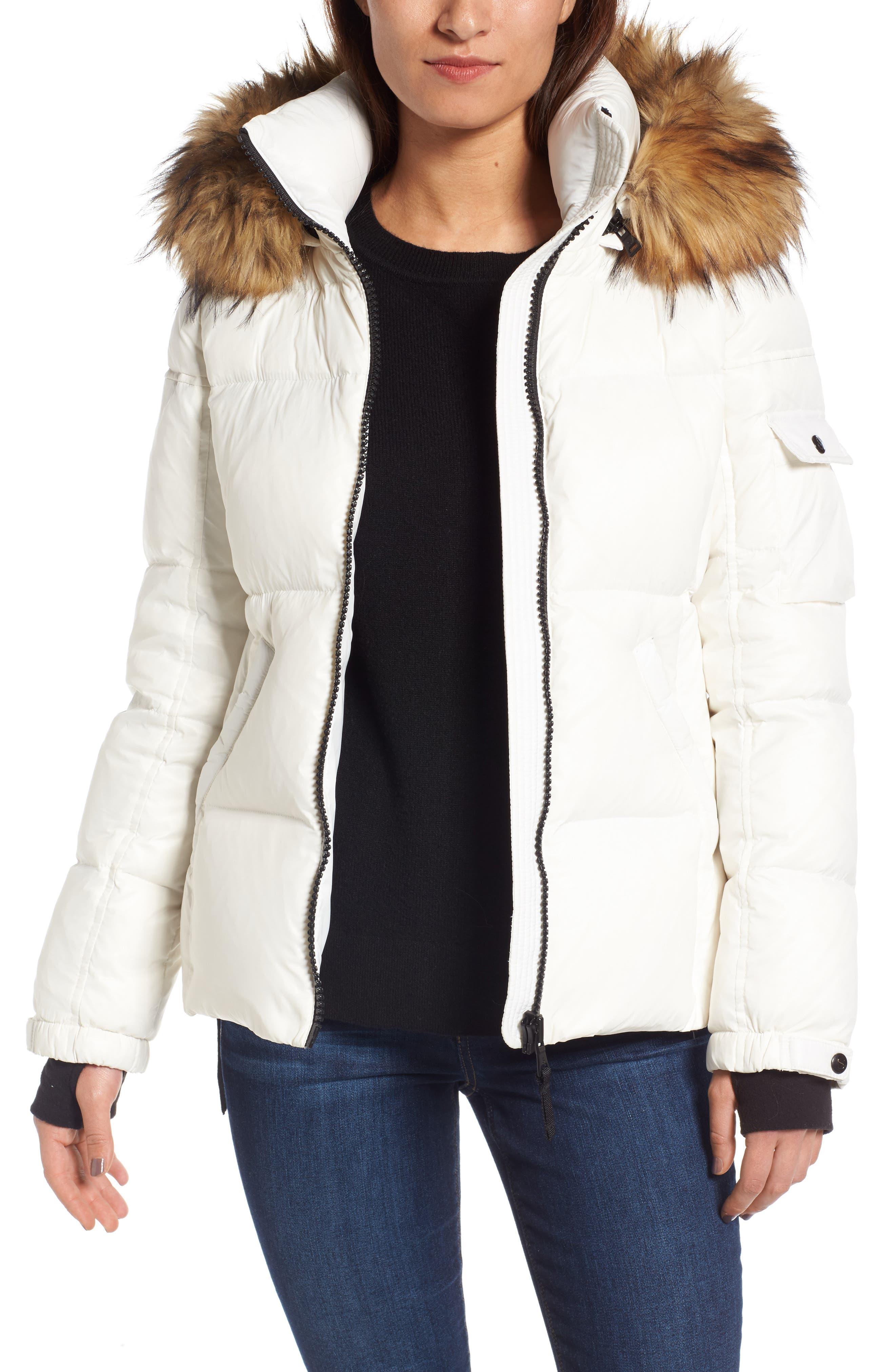 Kylie Faux Fur Trim Gloss Puffer Jacket,                             Main thumbnail 6, color,