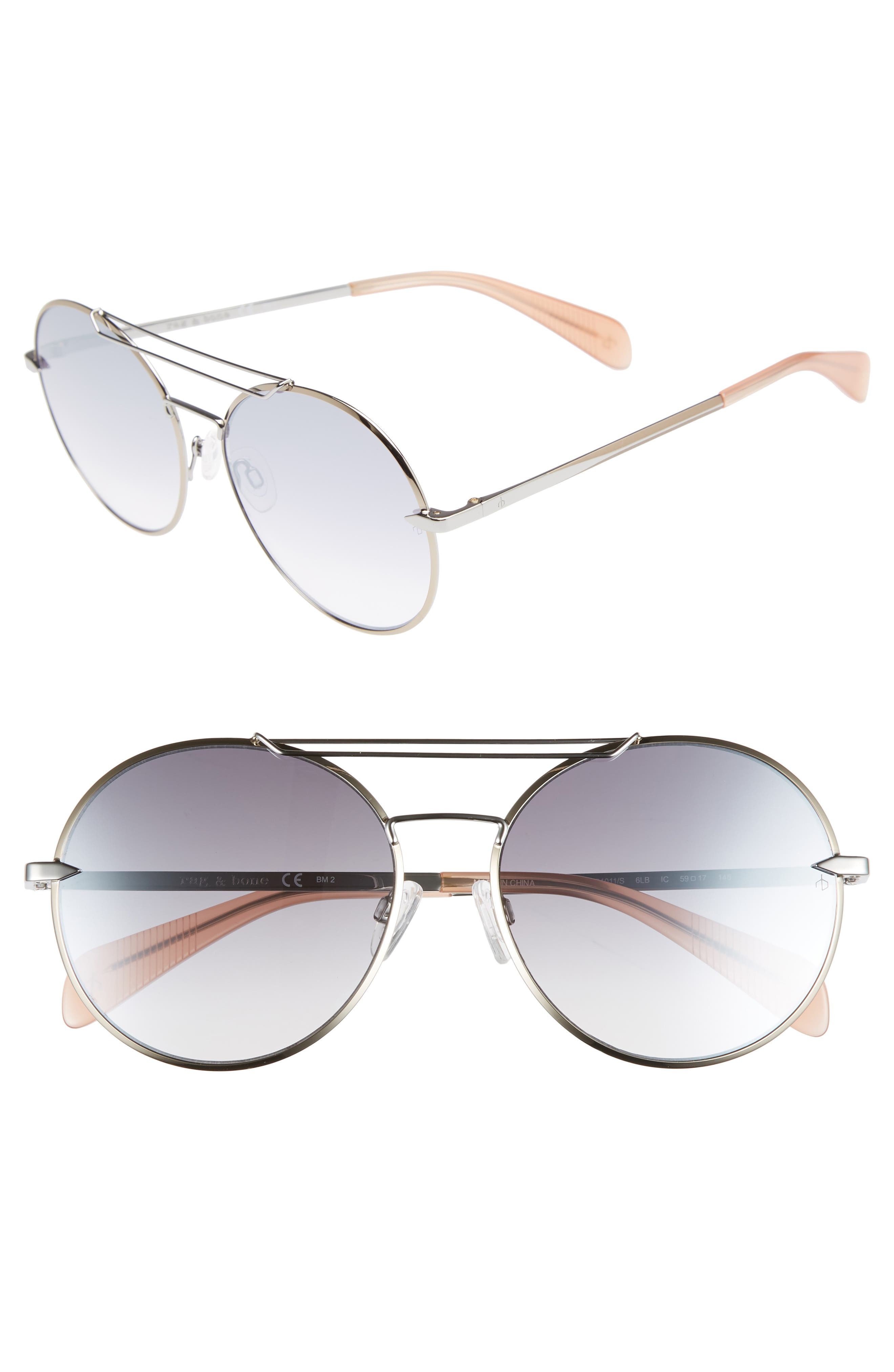 59mm Round Metal Aviator Sunglasses,                             Main thumbnail 1, color,                             RUTHENIUM