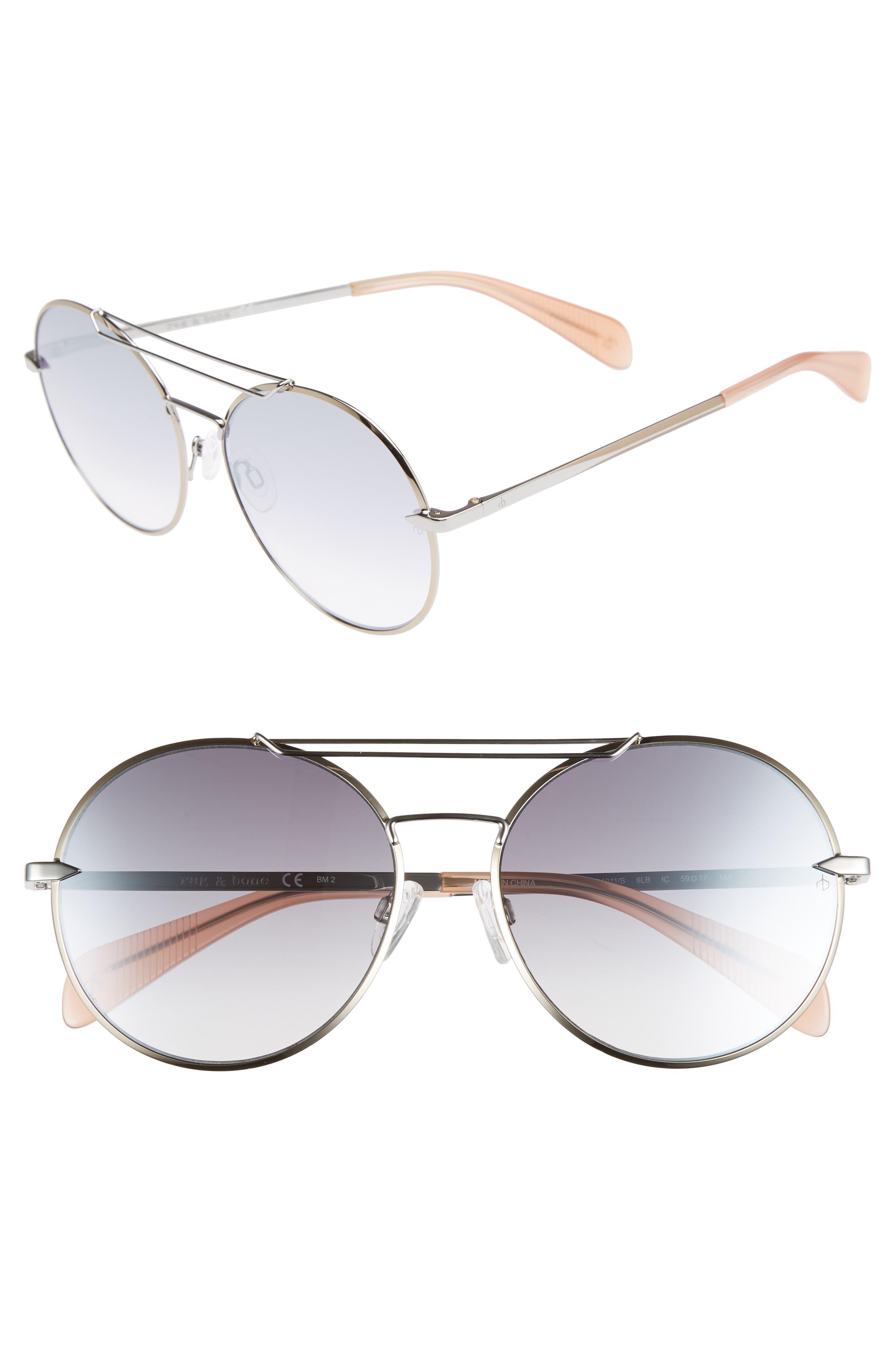 59mm Round Metal Aviator Sunglasses,                         Main,                         color, RUTHENIUM