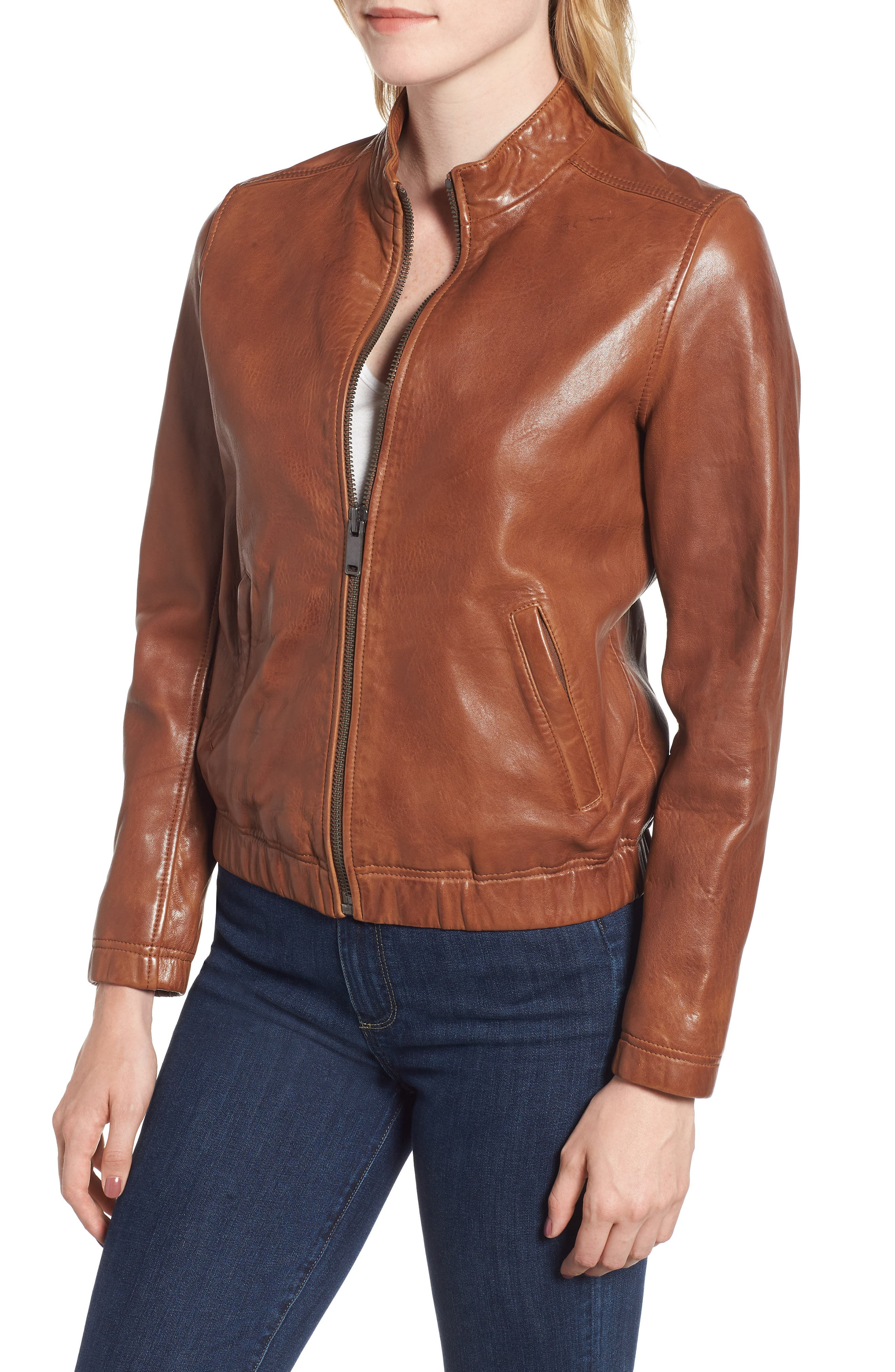 LUCKY BRAND,                             Ana Leather Jacket,                             Alternate thumbnail 5, color,                             210