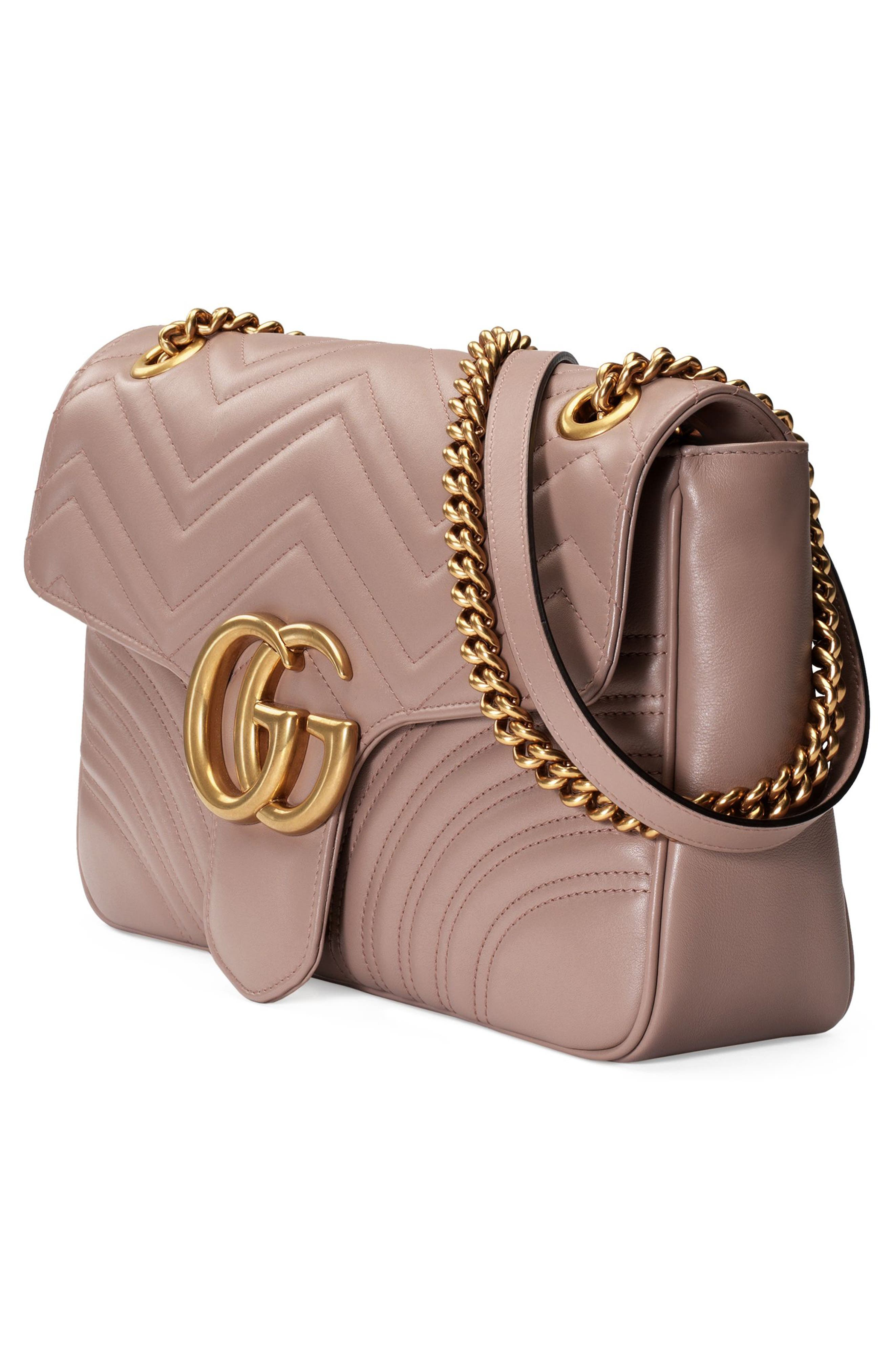 Medium GG Marmont 2.0 Matelassé Leather Shoulder Bag,                             Alternate thumbnail 4, color,                             PORCELAIN ROSE/ PORCELAIN ROSE