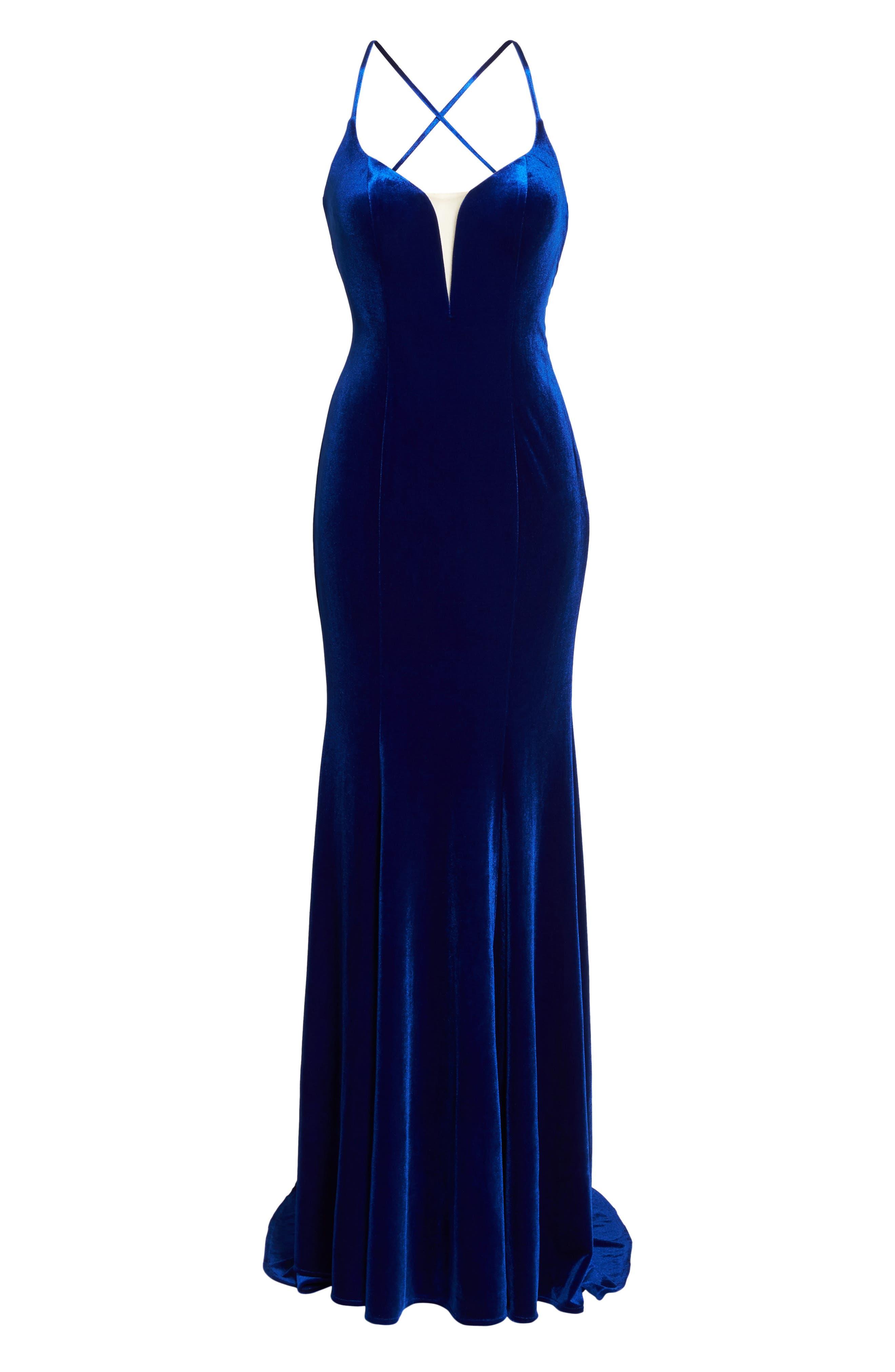 Crisscross Back Velvet Gown,                             Alternate thumbnail 6, color,                             ROYAL BLUE
