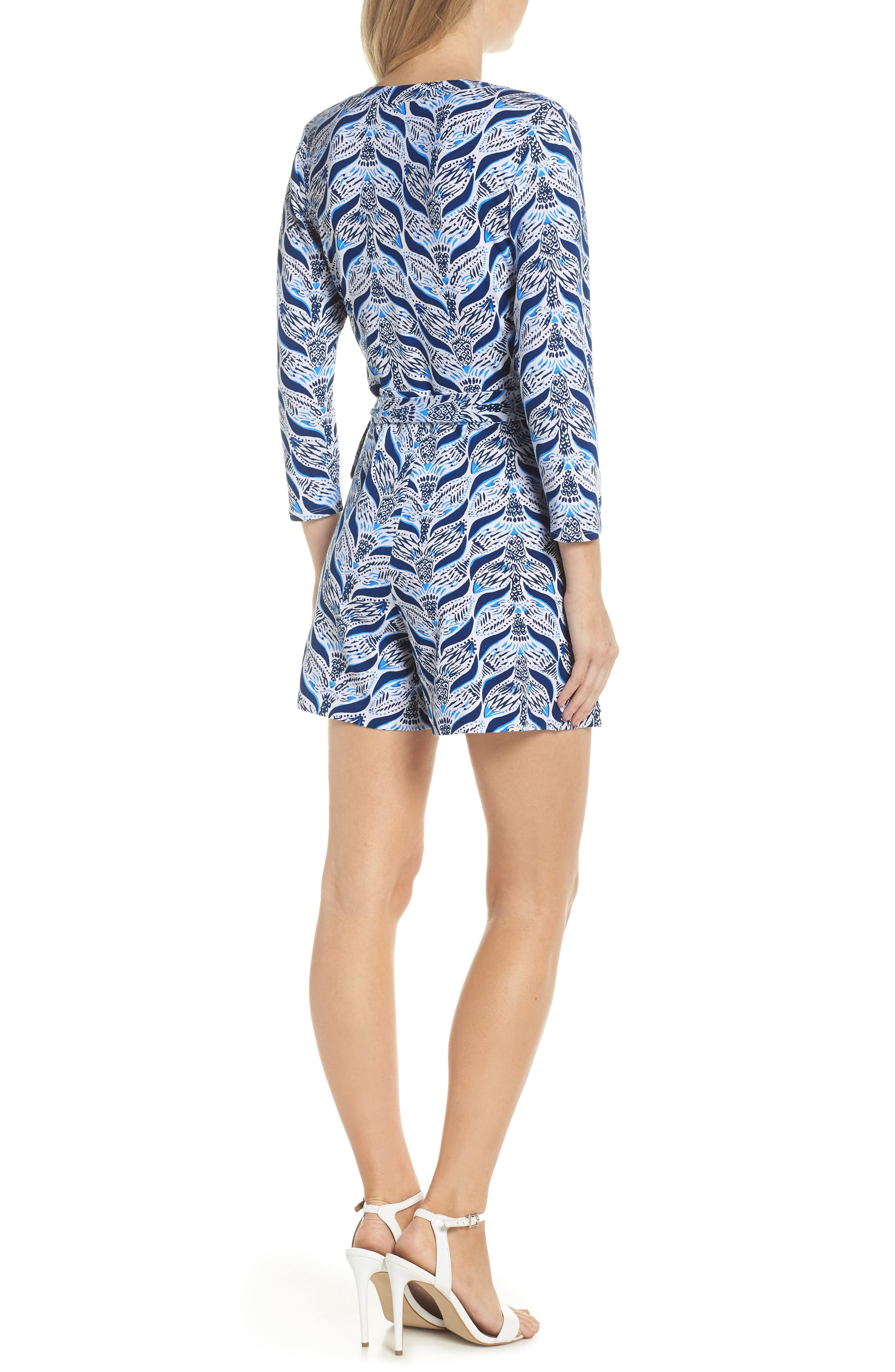 Karlie Wrap Style Romper,                             Alternate thumbnail 2, color,                             RESORT WHITE A MERMAIDS TAIL