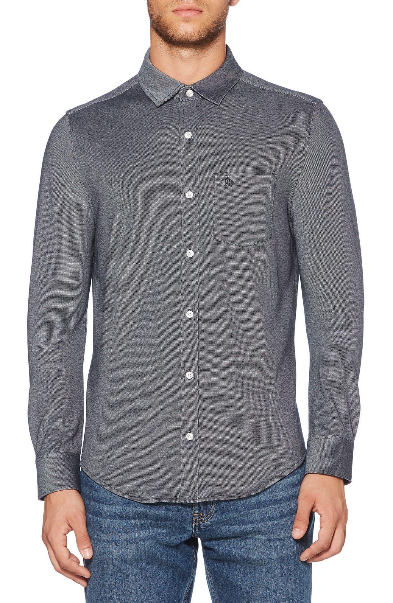 Knit Oxford Shirt,                         Main,                         color, 413