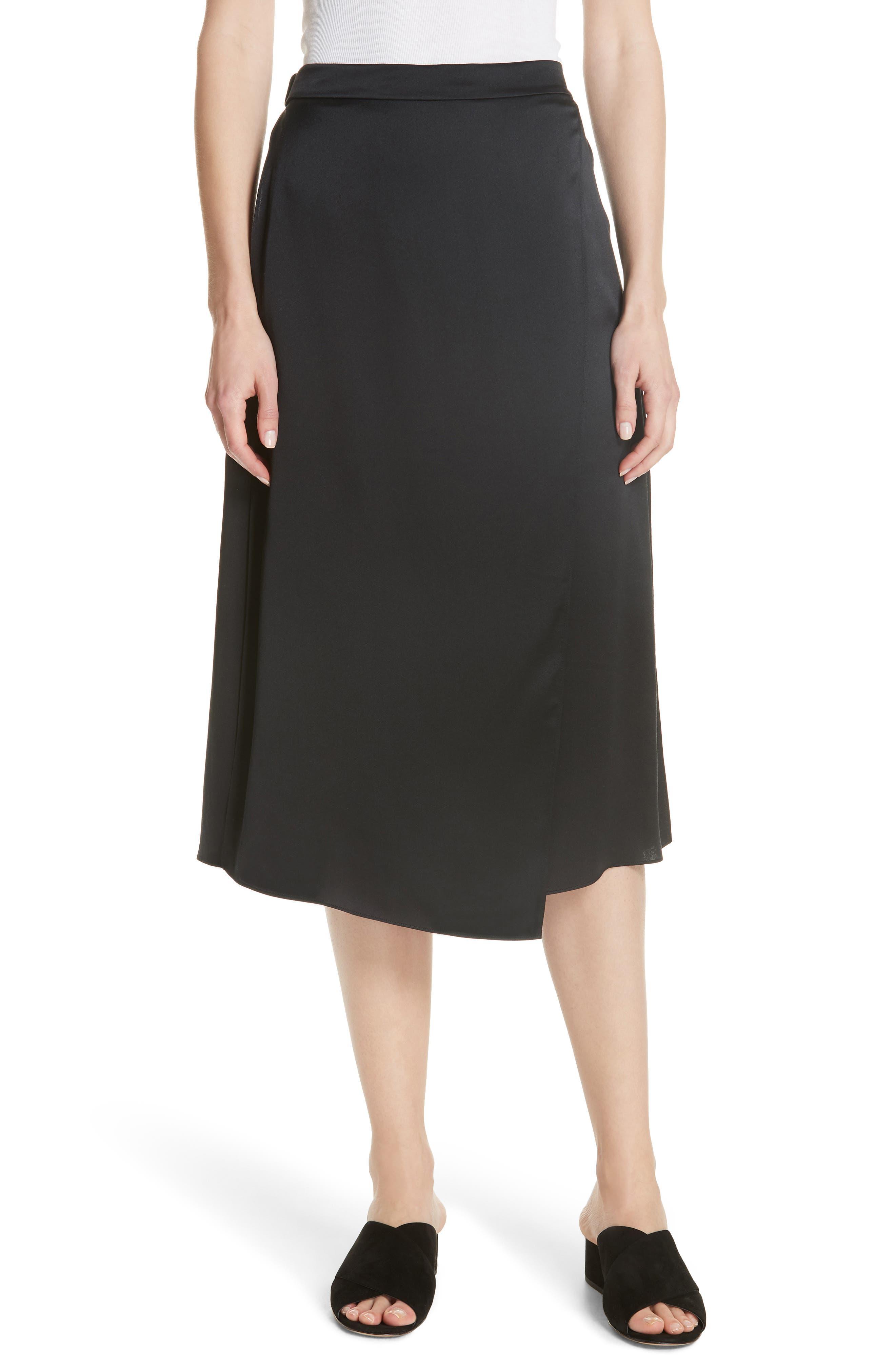 Drape Panel Silk Skirt,                         Main,                         color, BLACK