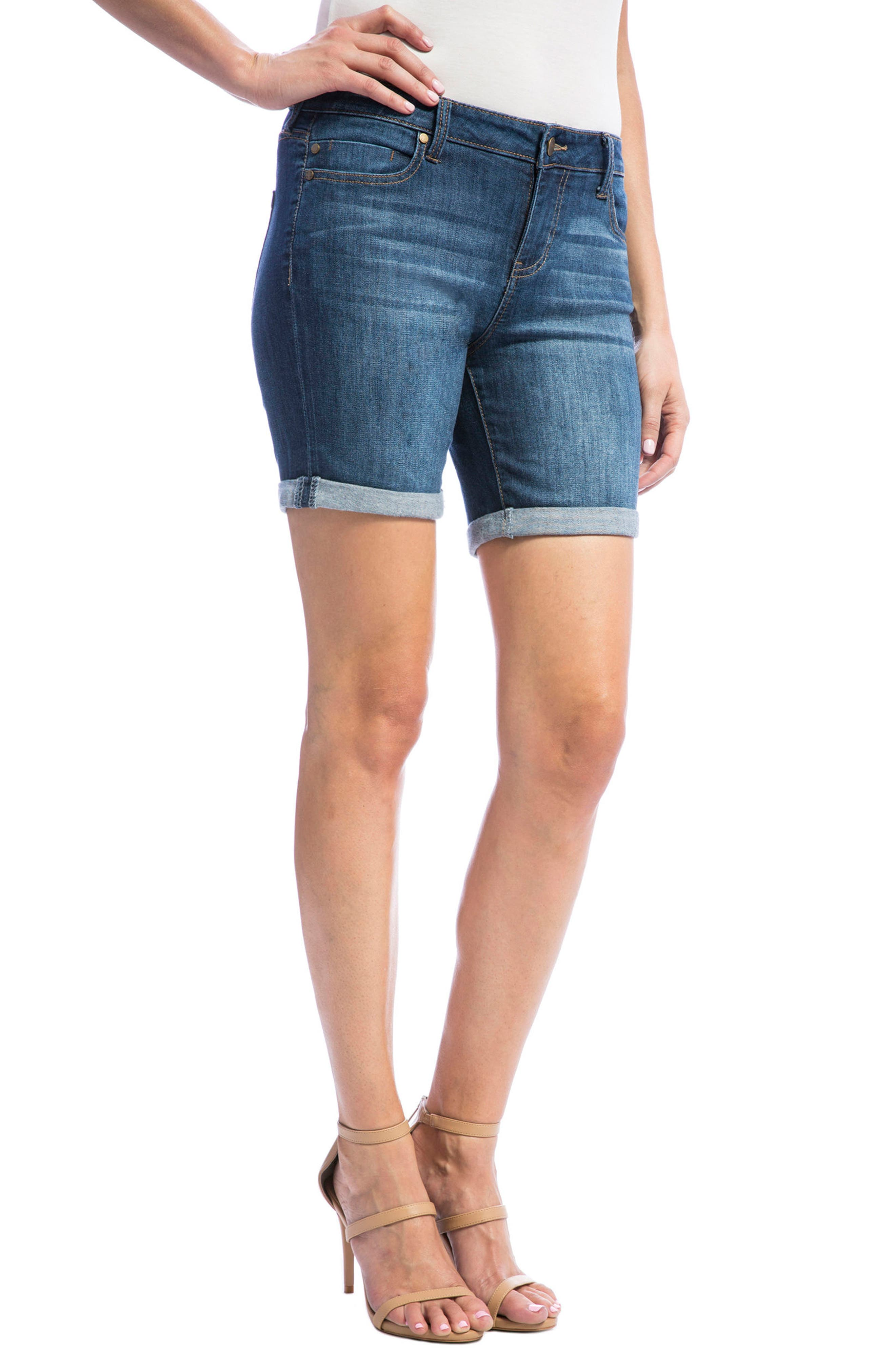 Corine Stretch Denim Shorts,                             Alternate thumbnail 3, color,                             404