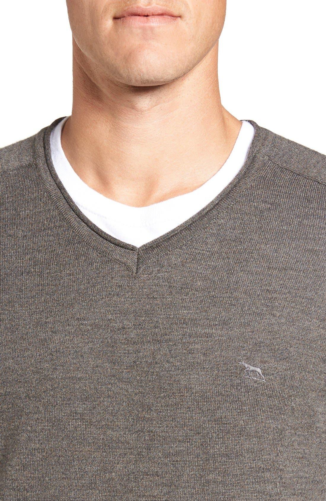 'Burwood Bay' Wool V-Neck Sweater,                             Alternate thumbnail 4, color,                             259