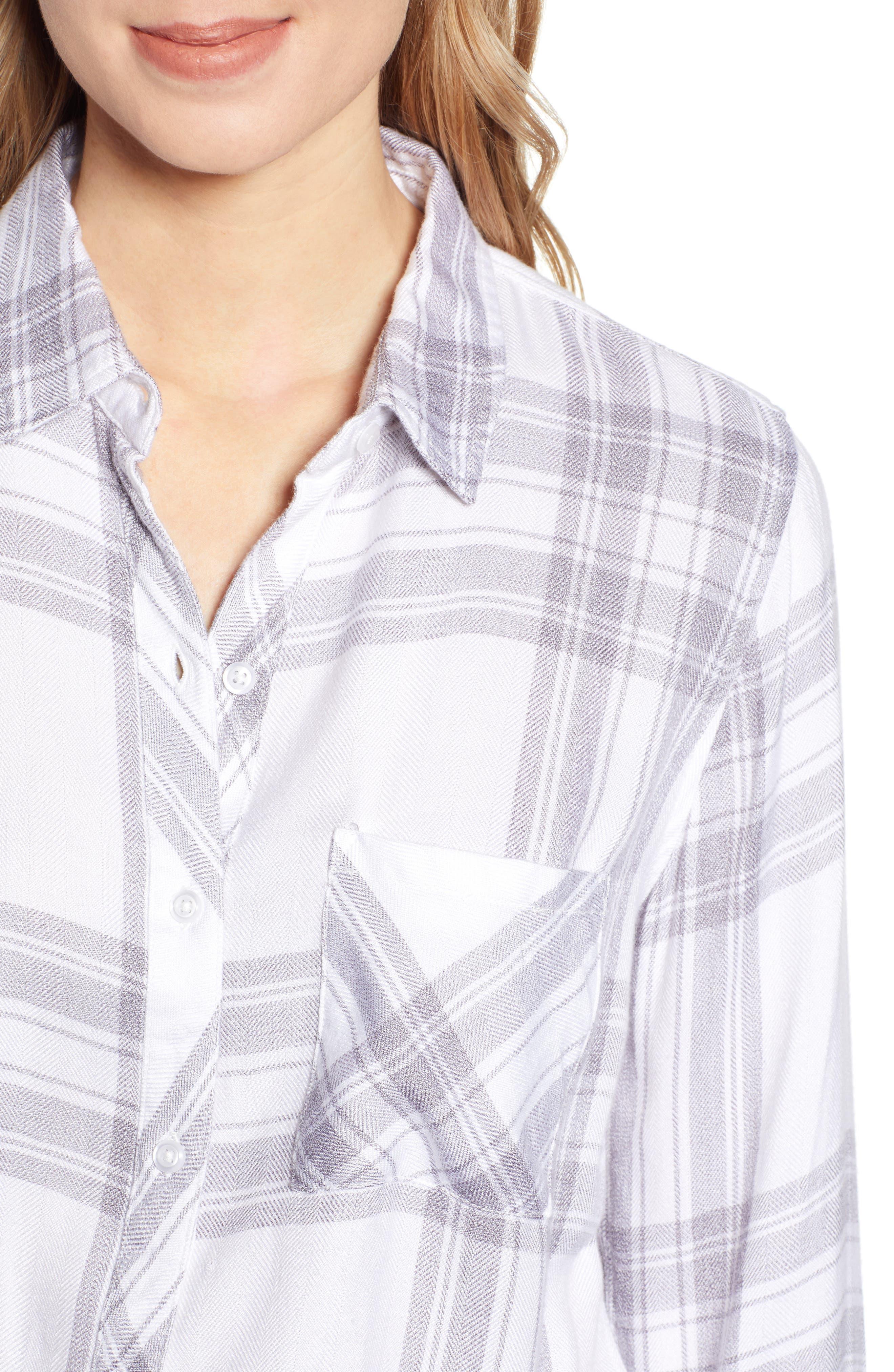 RAILS,                             Hunter Plaid Shirt,                             Alternate thumbnail 5, color,                             WHITE PEPPER