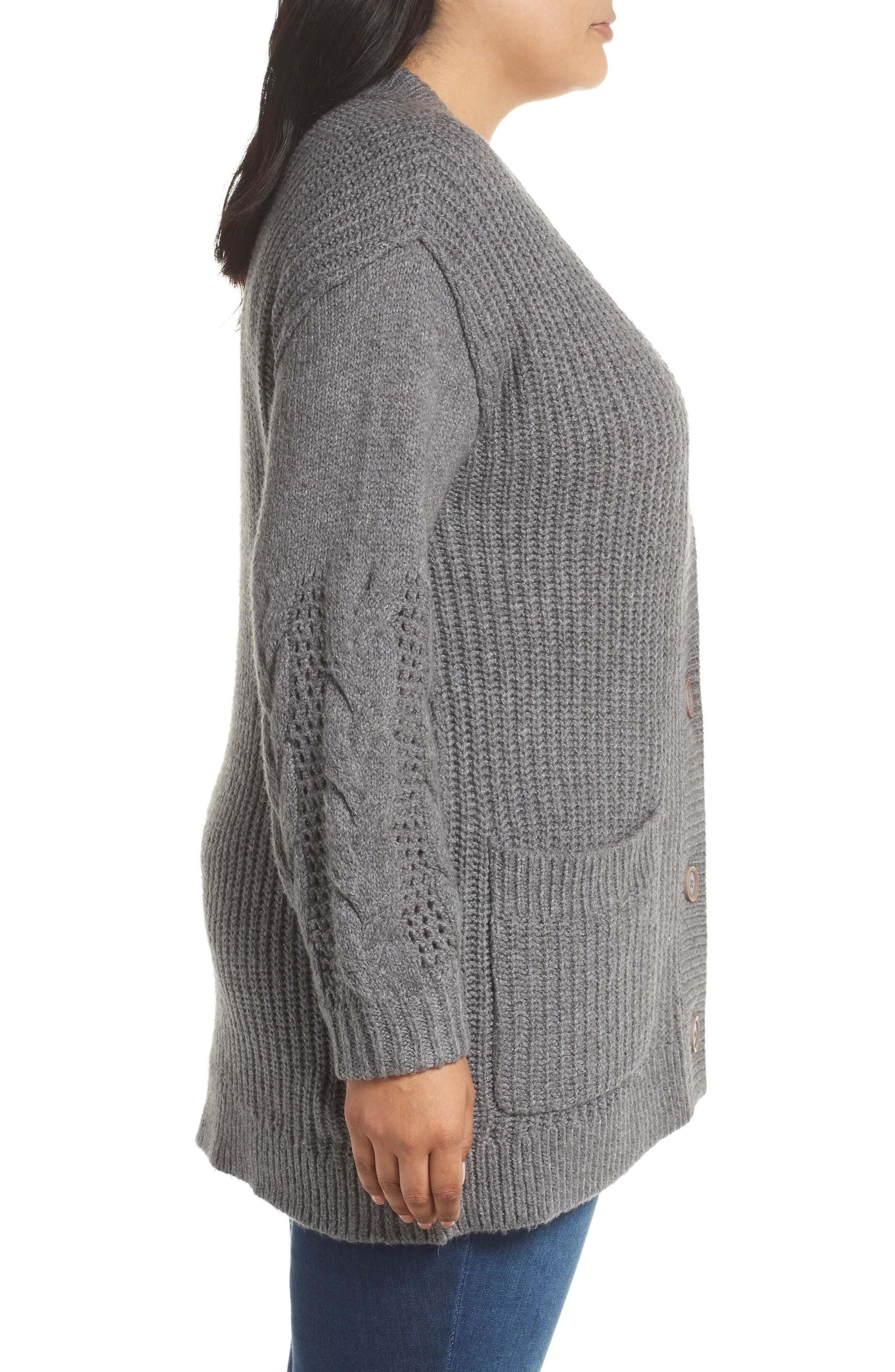 Cable Knit Sleeve Cardigan,                             Alternate thumbnail 3, color,                             GREY DARK HEATHER