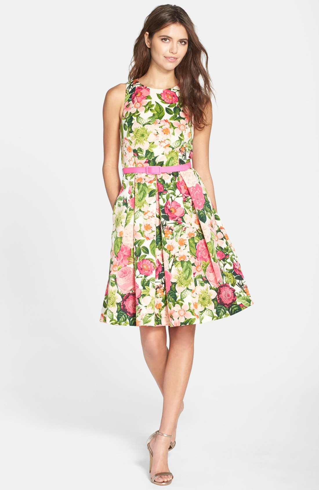 Belted Print Faille Fit & Flare Dress,                             Alternate thumbnail 3, color,                             650