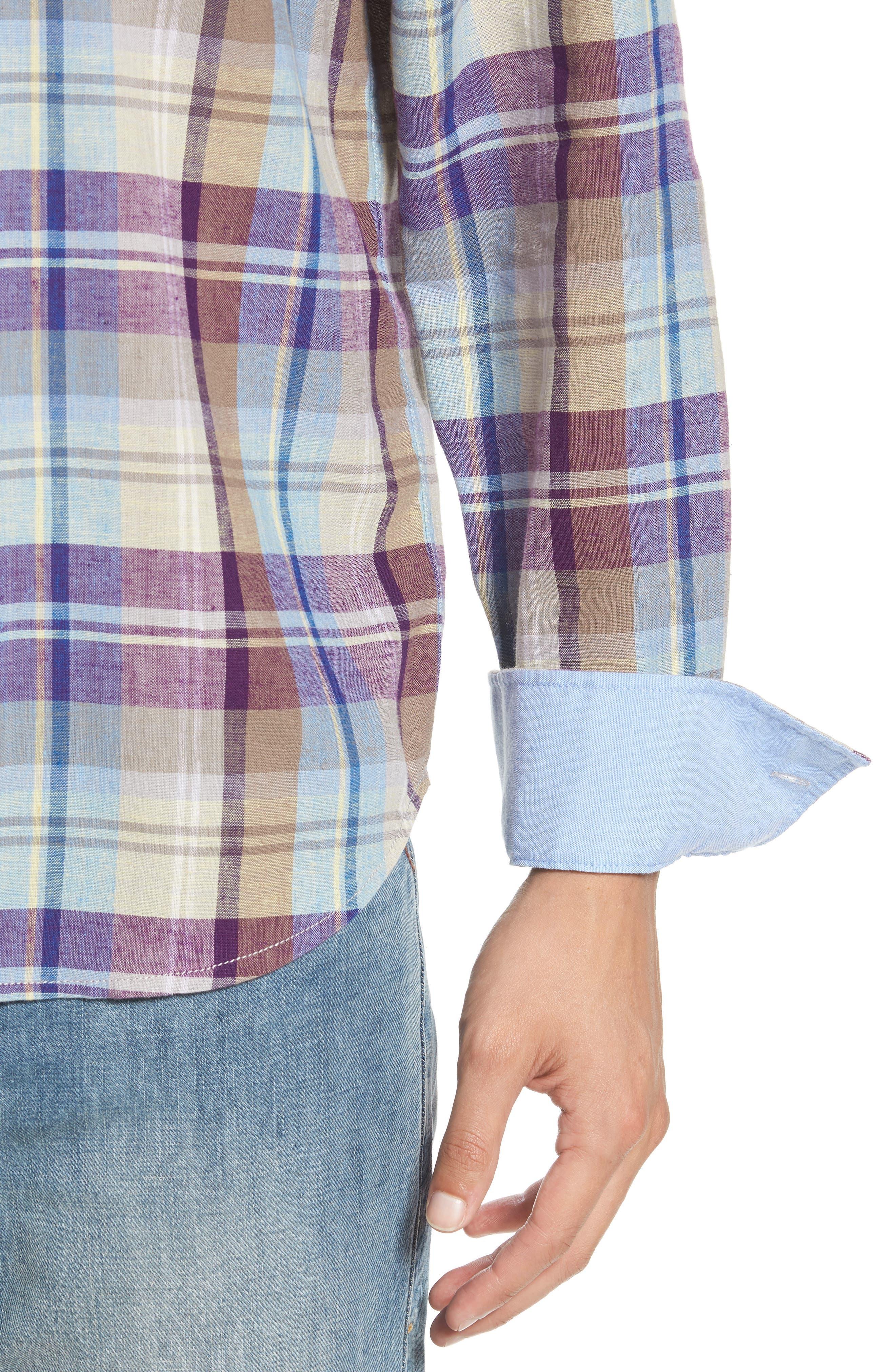 La Paz Plaid Linen Blend Sport Shirt,                             Alternate thumbnail 4, color,