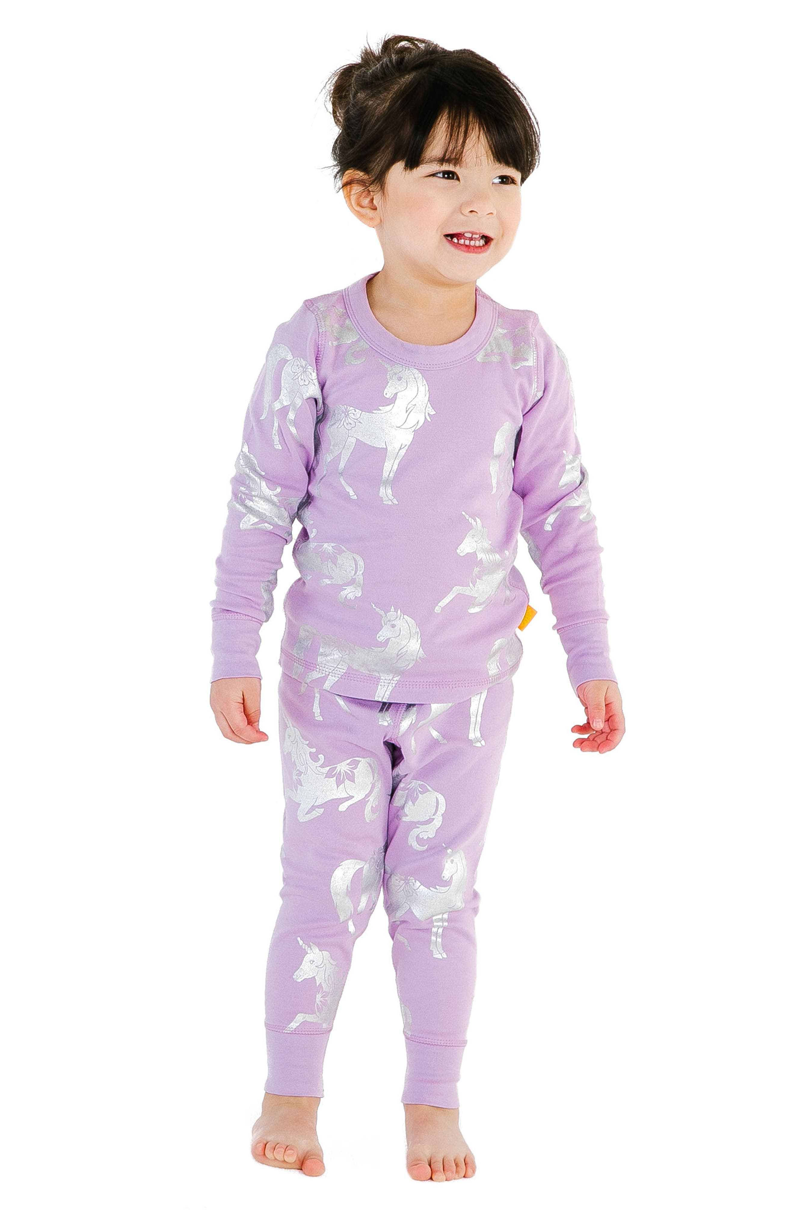 Unicorn Organic Cotton Fitted Two-Piece Pajamas,                             Alternate thumbnail 2, color,