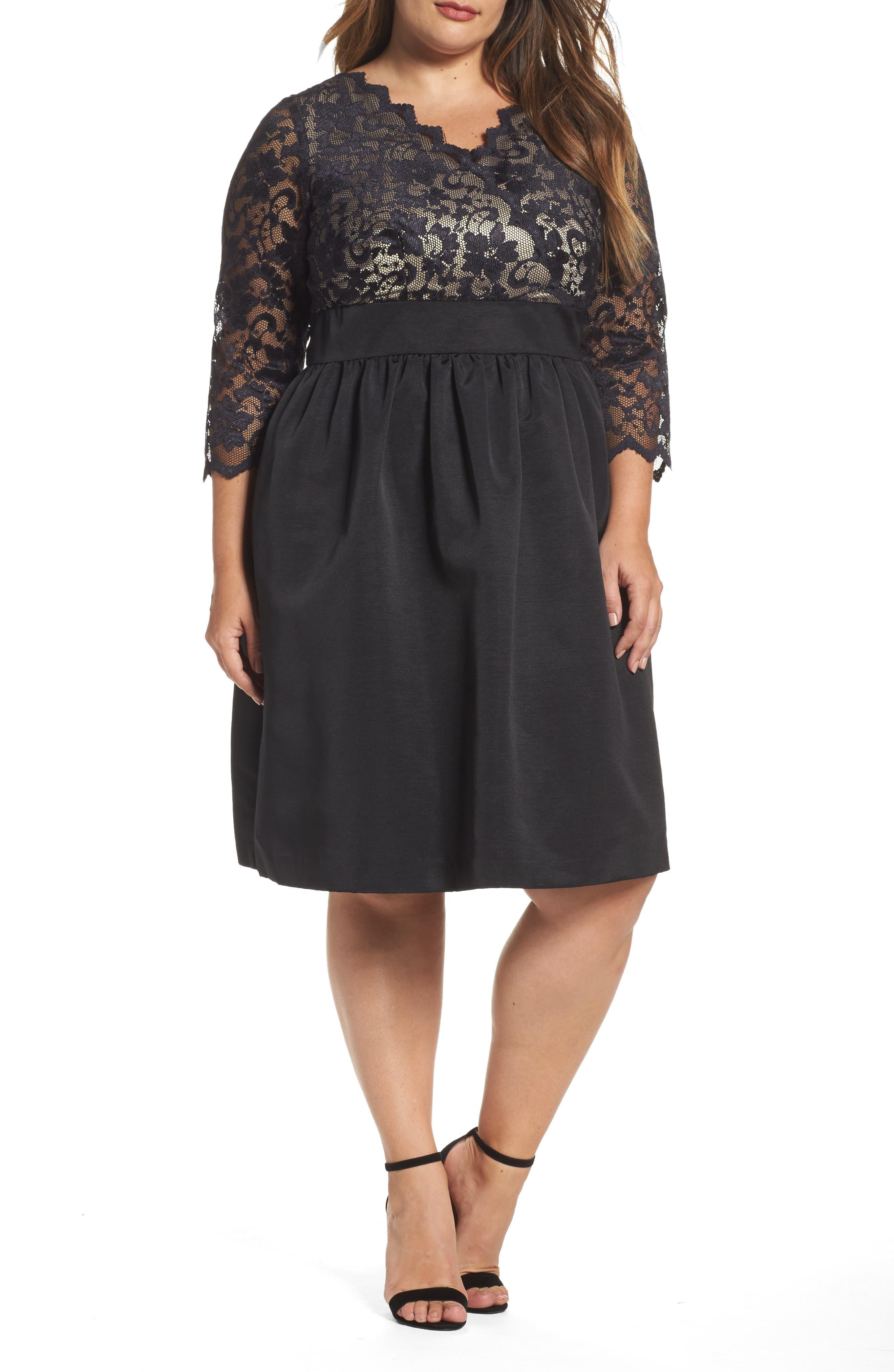 Lace & Faille Dress,                             Alternate thumbnail 3, color,