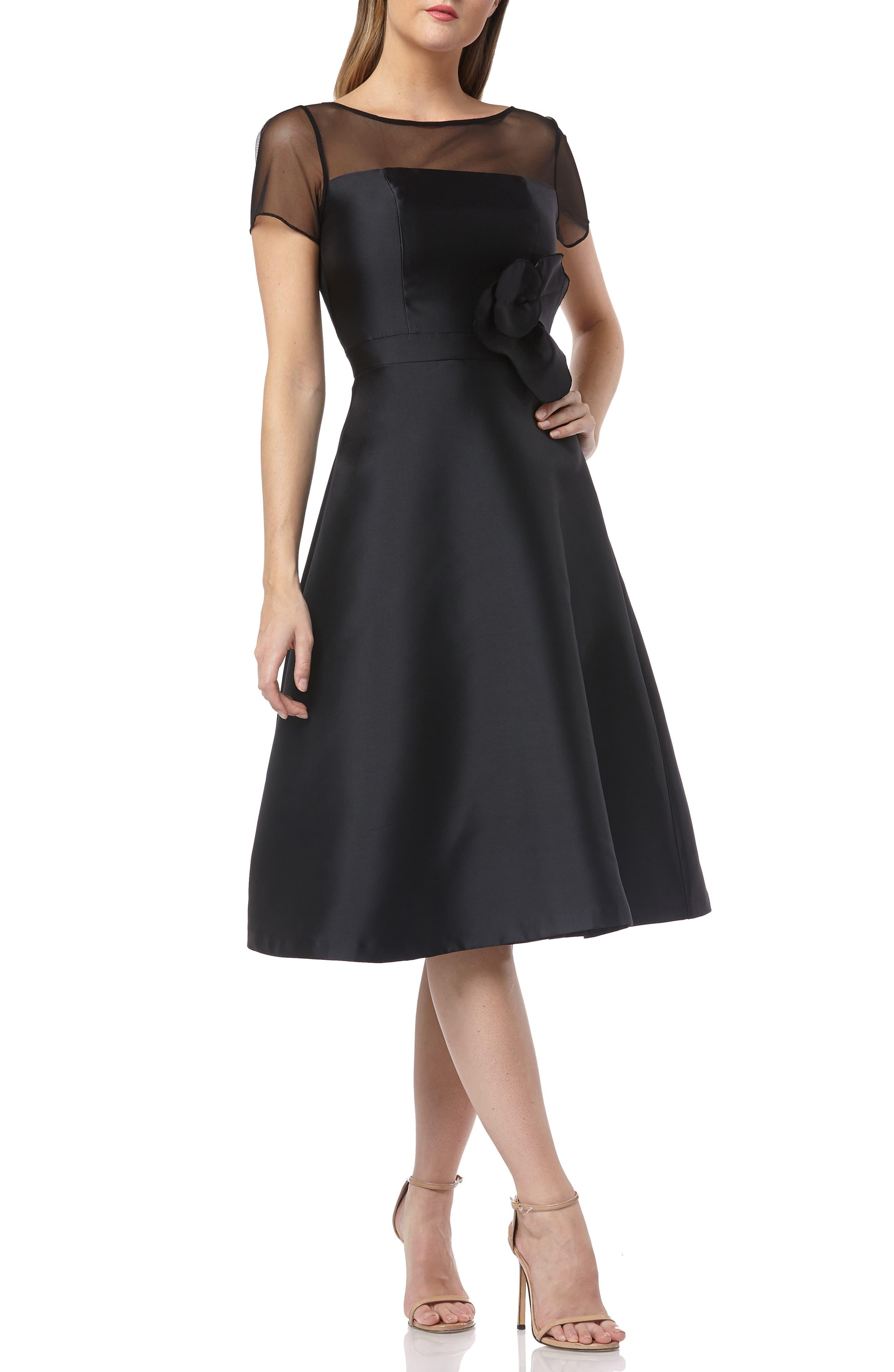 KAY UNGER Illusion Yoke Fit & Flare Cocktail Dress, Main, color, BLACK