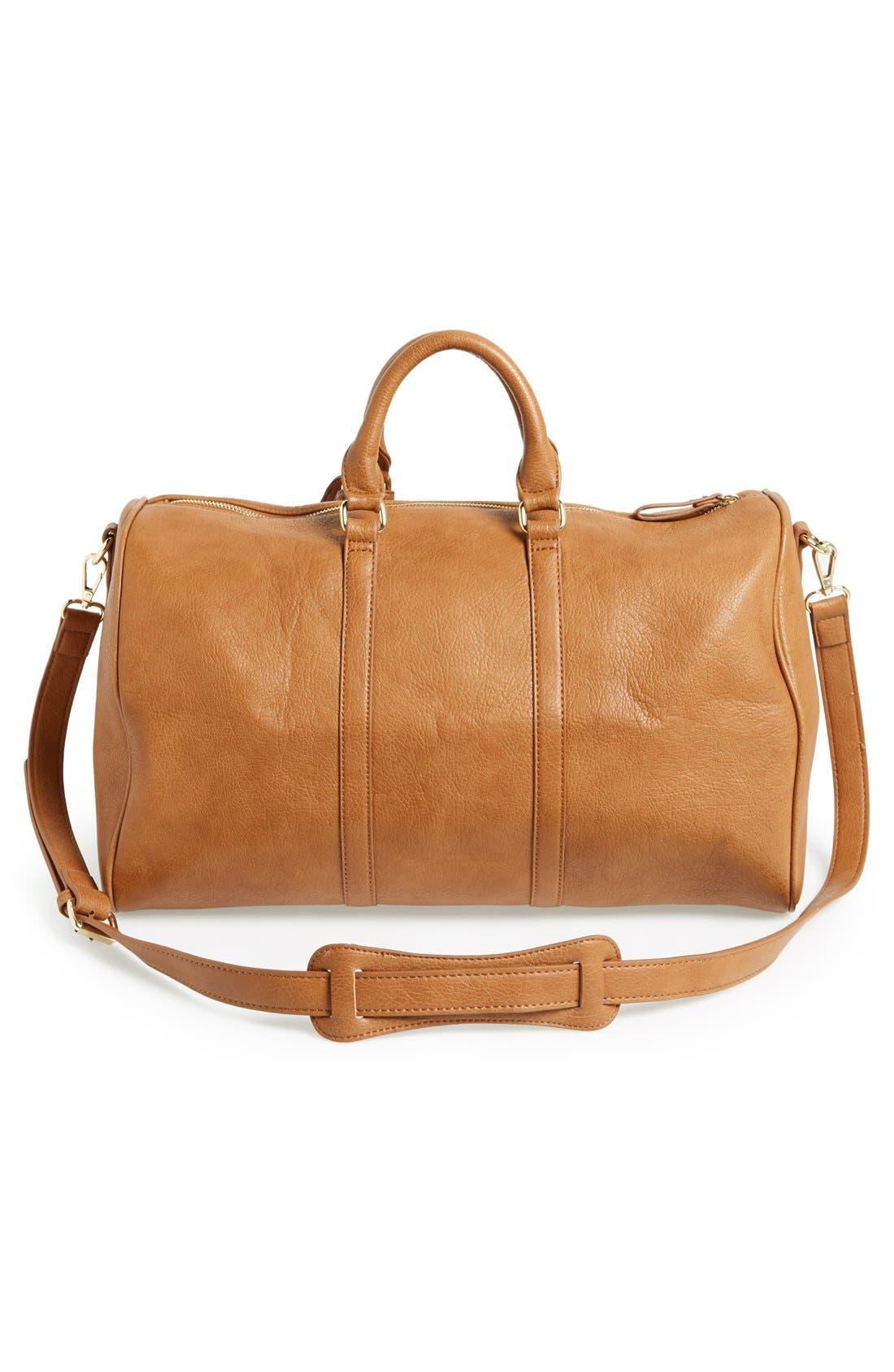 'Cassidy' Faux Leather Duffel Bag,                             Alternate thumbnail 8, color,                             COGNAC