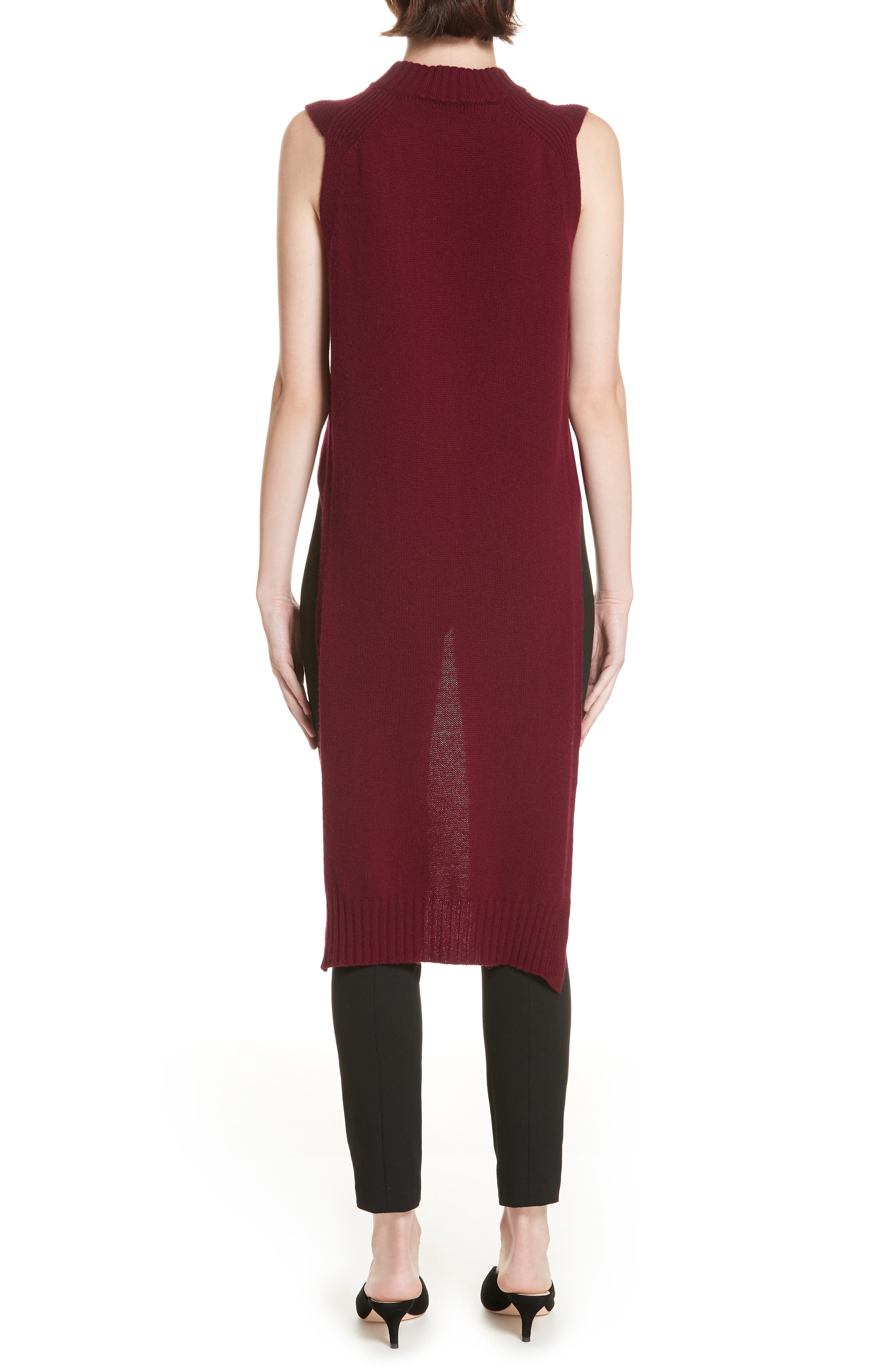 High/Low Wool & Cashmere Sweater,                             Alternate thumbnail 2, color,                             MAROON