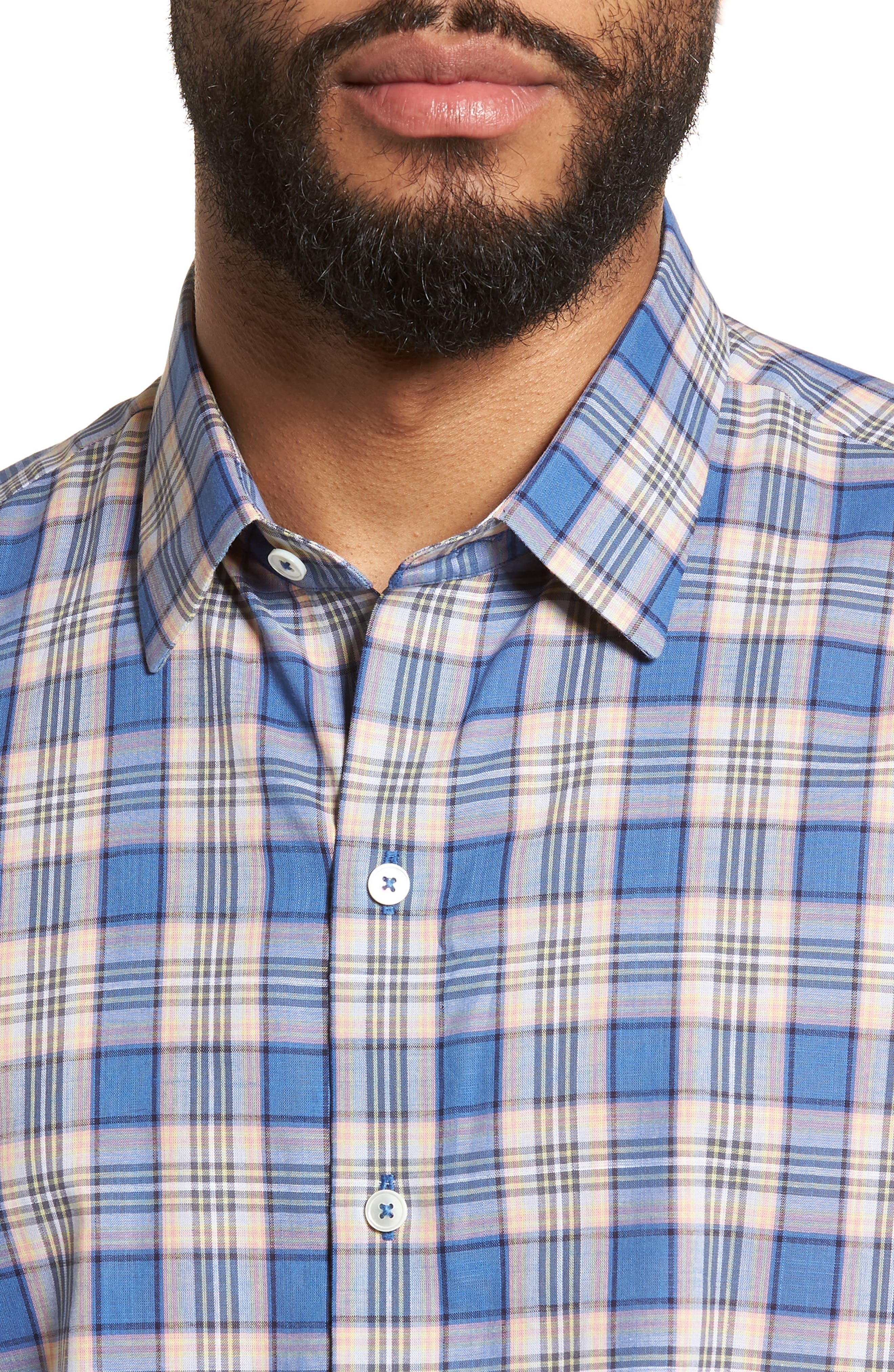 Carter Plaid Sport Shirt,                             Alternate thumbnail 4, color,                             400
