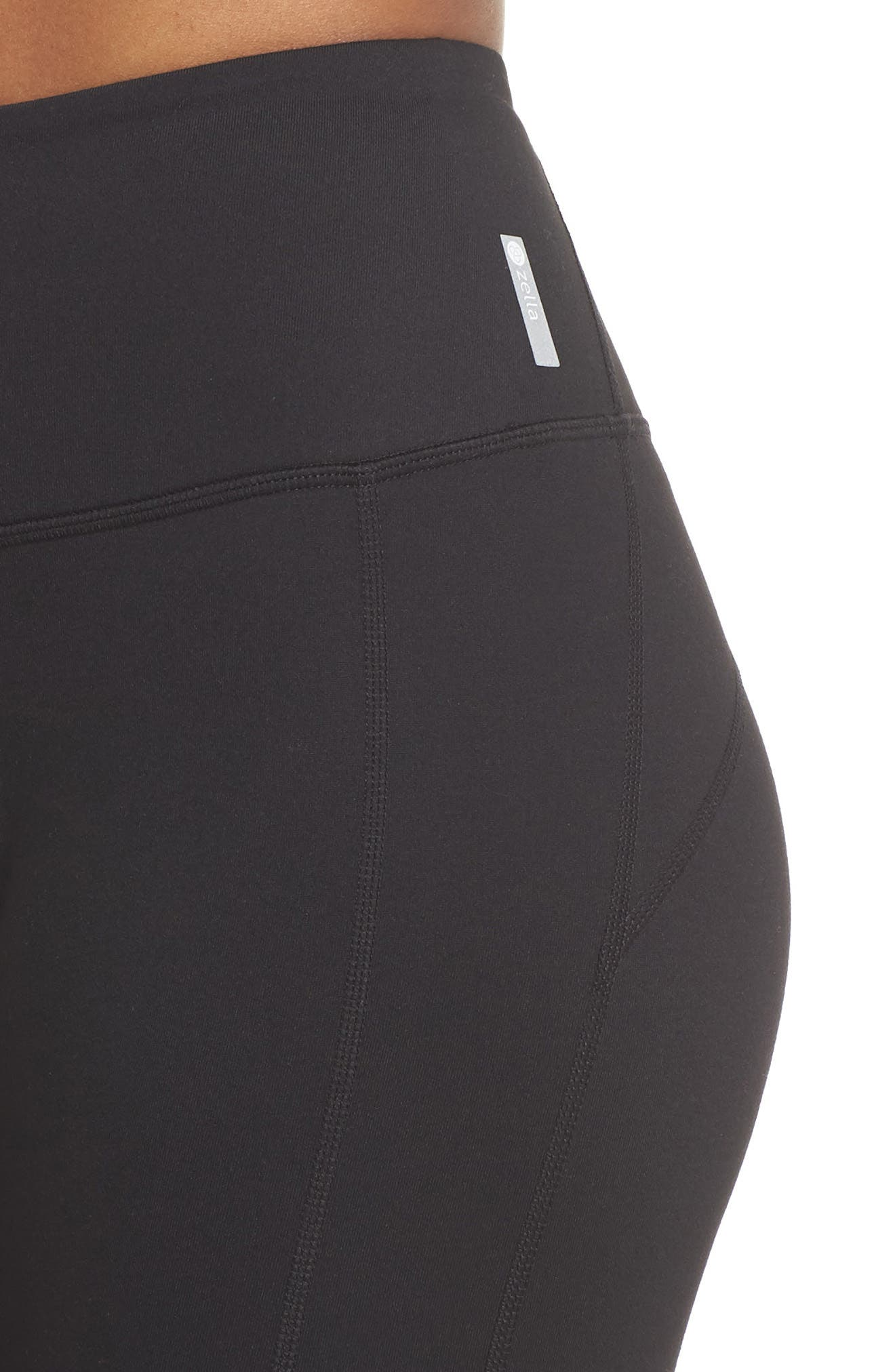 Plank High Waist Midi Leggings,                             Alternate thumbnail 4, color,                             BLACK