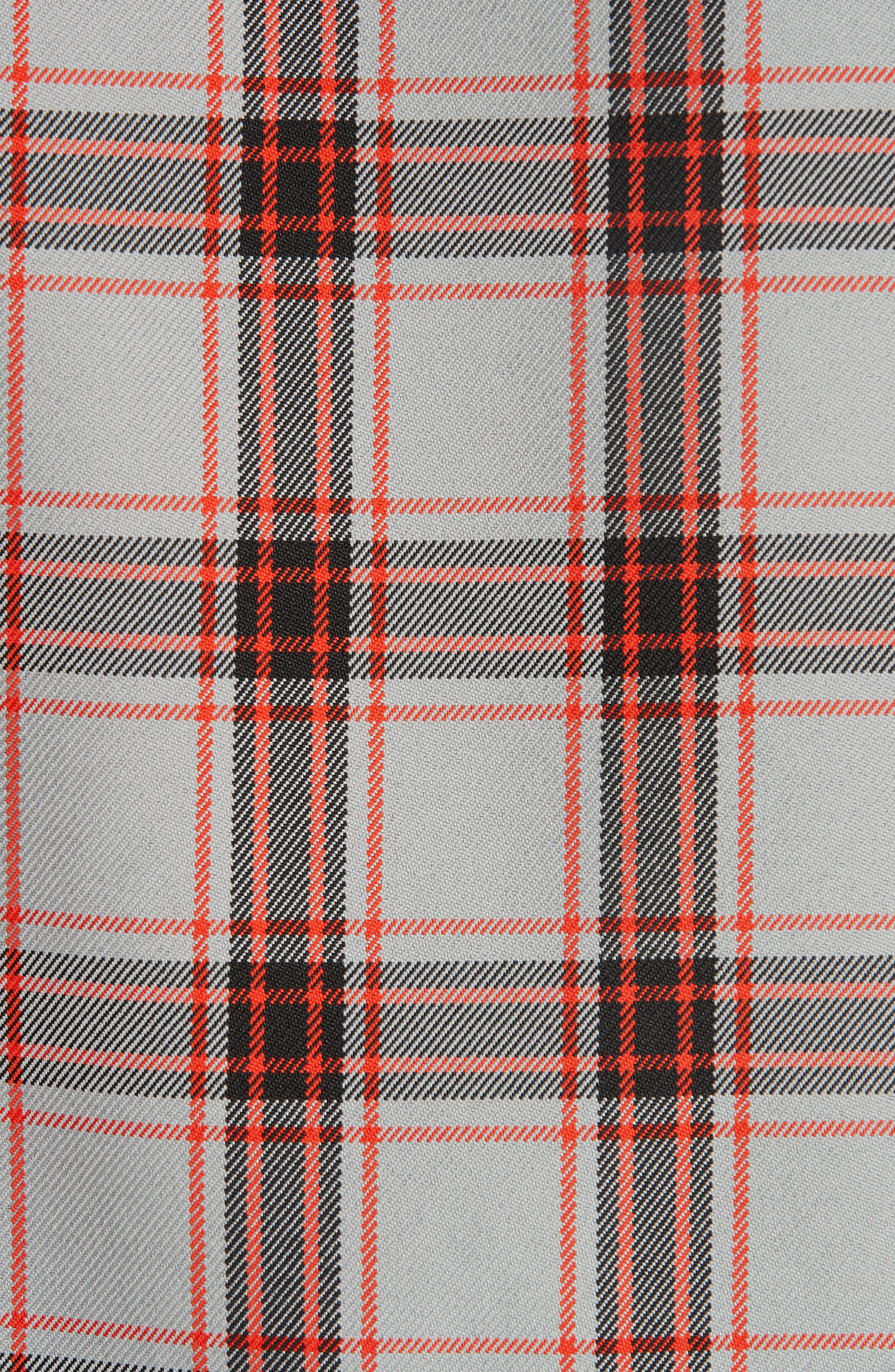 Oversize Plaid Twill Shirt,                             Alternate thumbnail 5, color,                             GREY/ RED