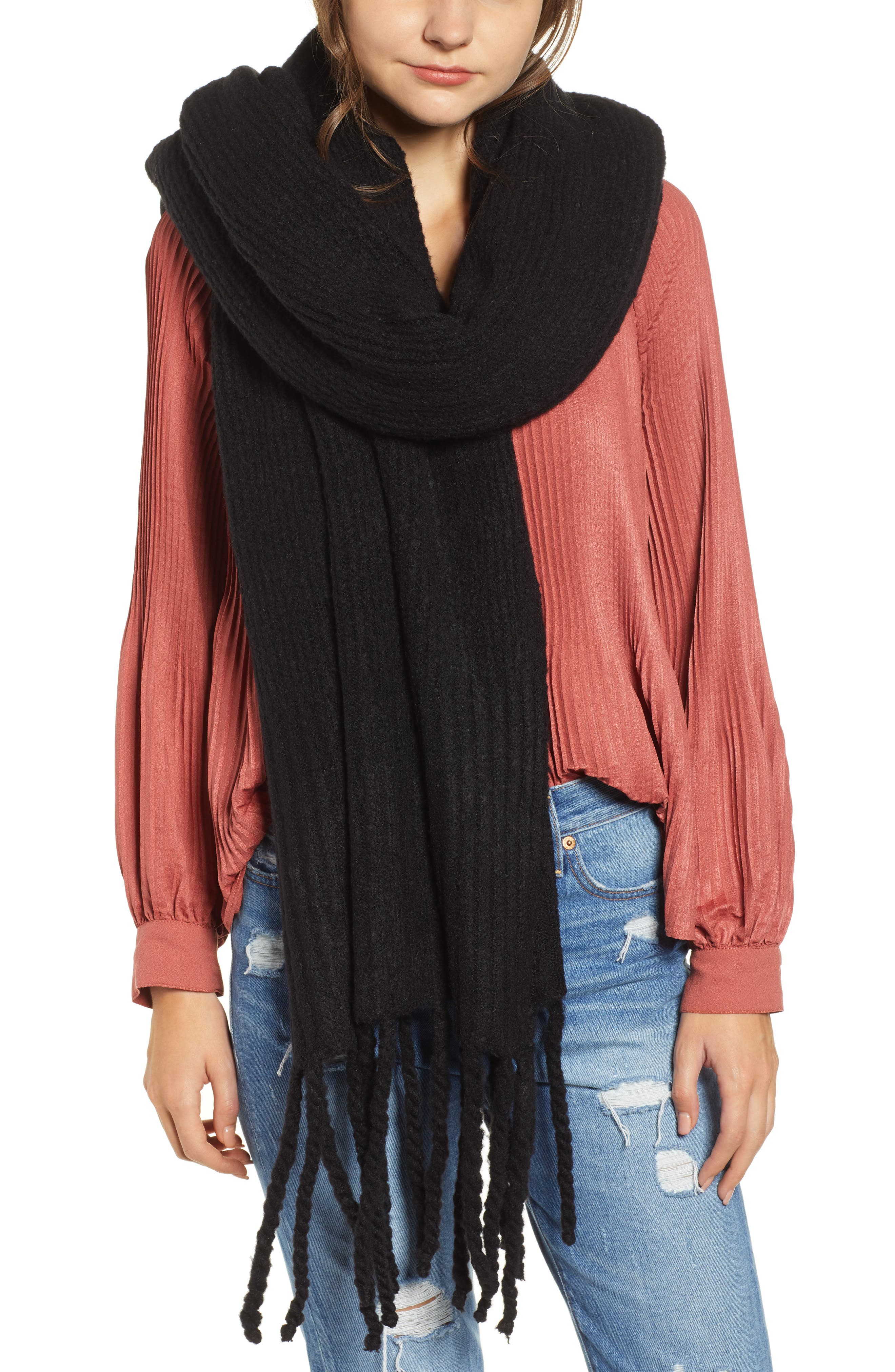 Jaden Rib Knit Blanket Scarf, Main, color, 001
