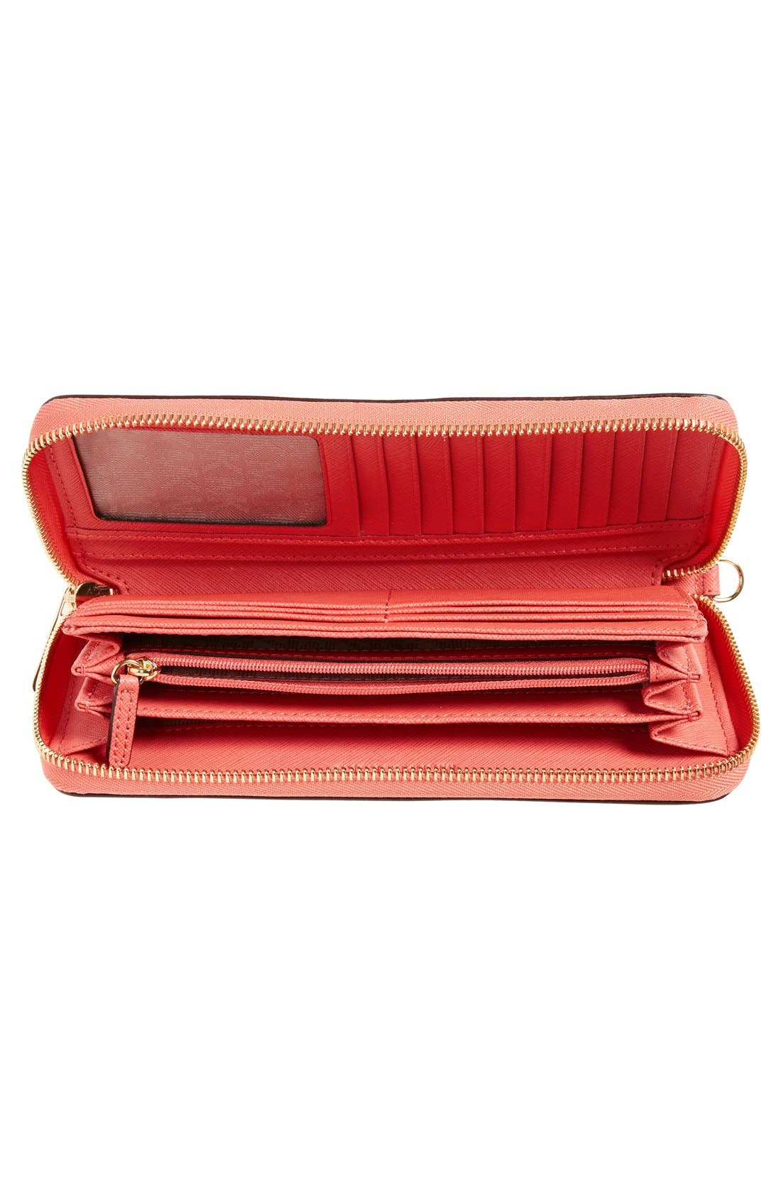 'Jet Set' Leather Travel Wallet,                             Alternate thumbnail 21, color,