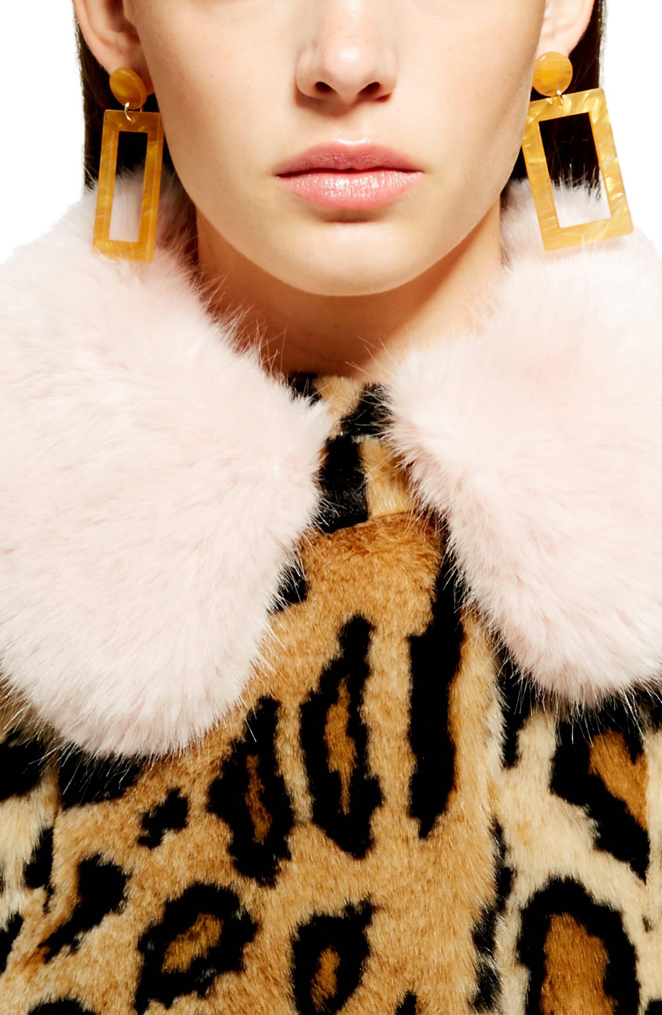 Leopard Spot Faux Fur Coat,                             Alternate thumbnail 2, color,                             BROWN MULTI