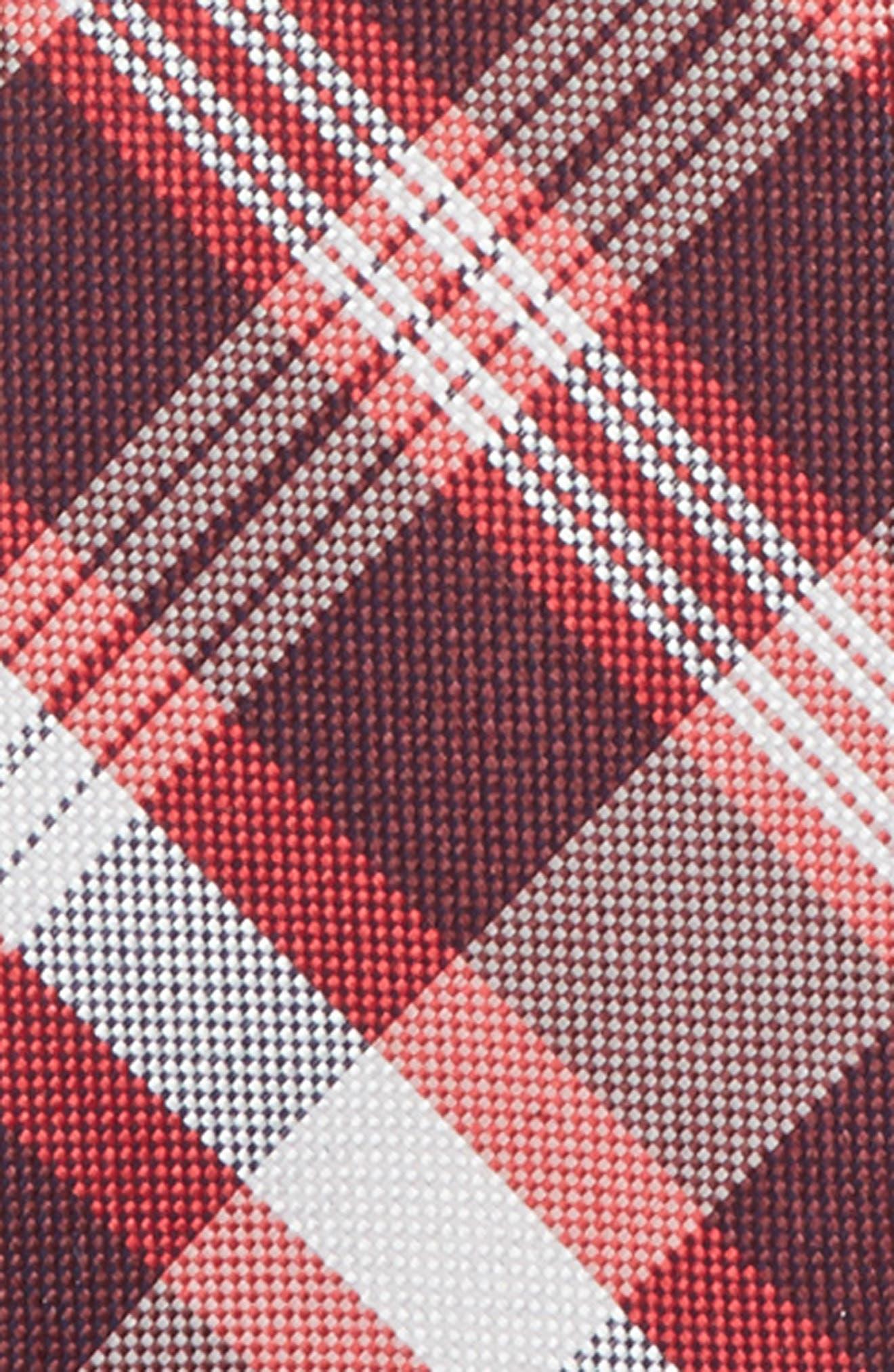Plaid Silk Zip Tie,                             Alternate thumbnail 2, color,                             RED