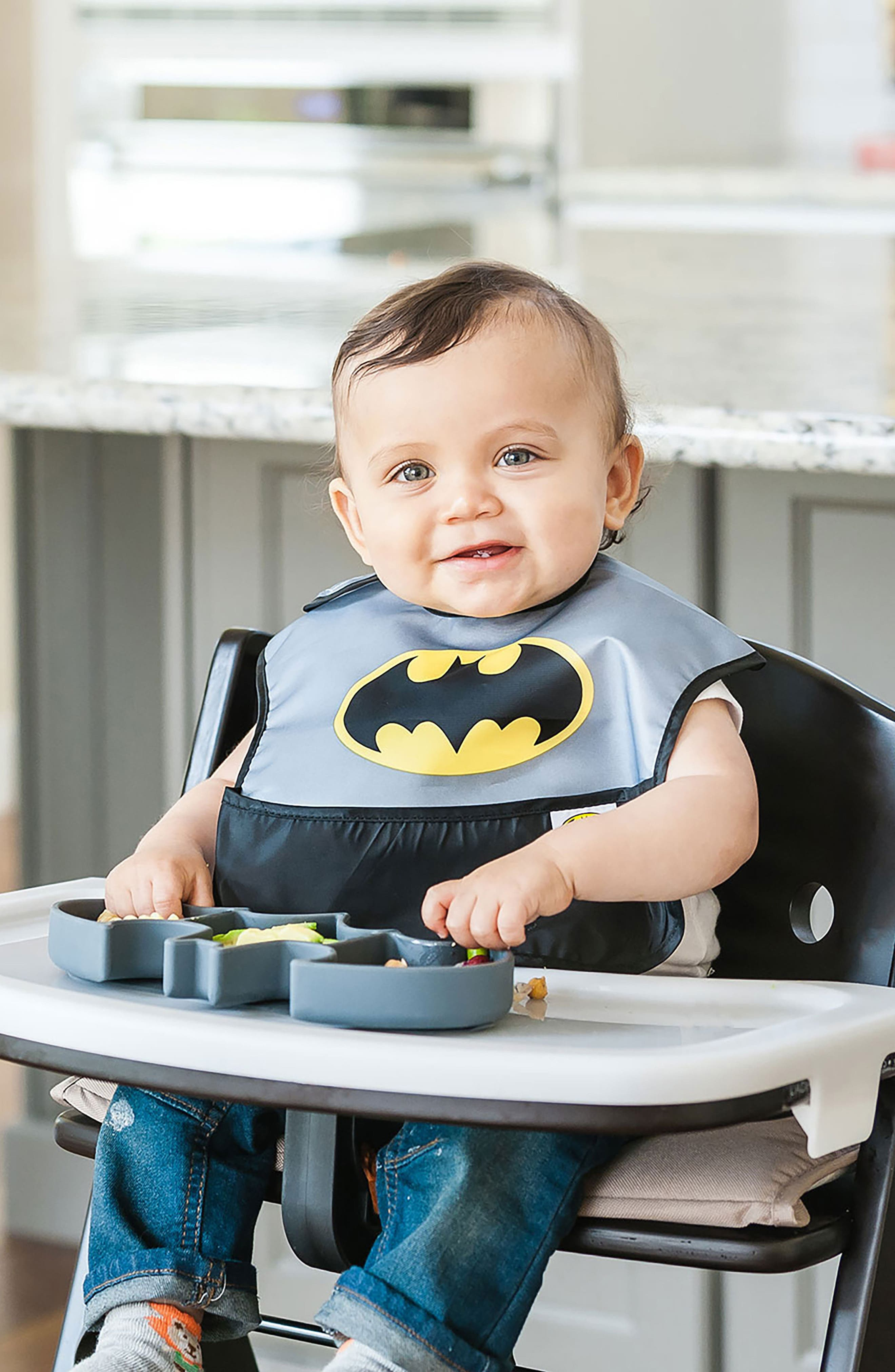 Batman Grip Dish & Caped SuperBib Set,                             Alternate thumbnail 6, color,                             001