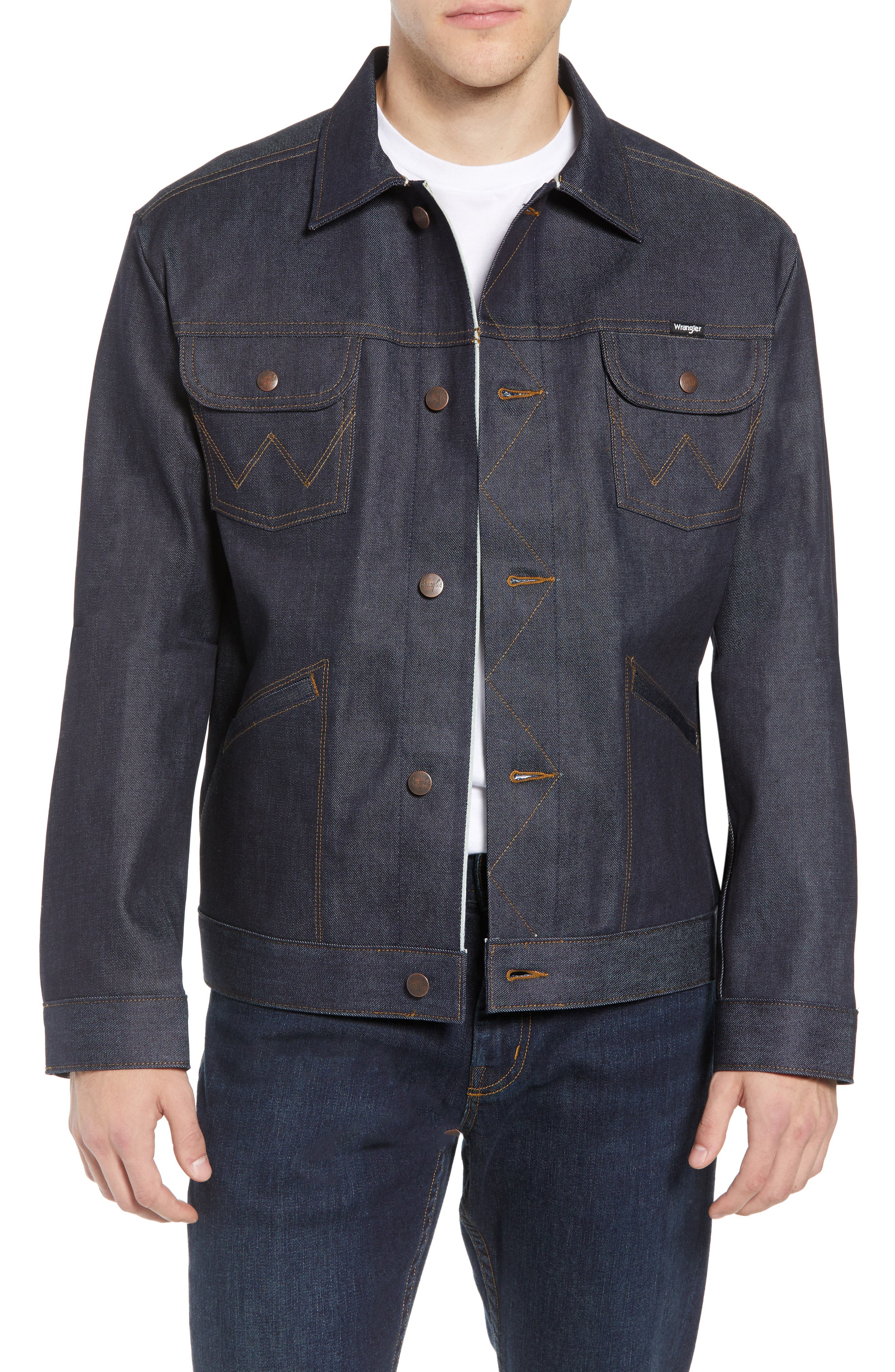 Heritage Denim Jacket,                             Main thumbnail 1, color,                             SELEVDGE RAW
