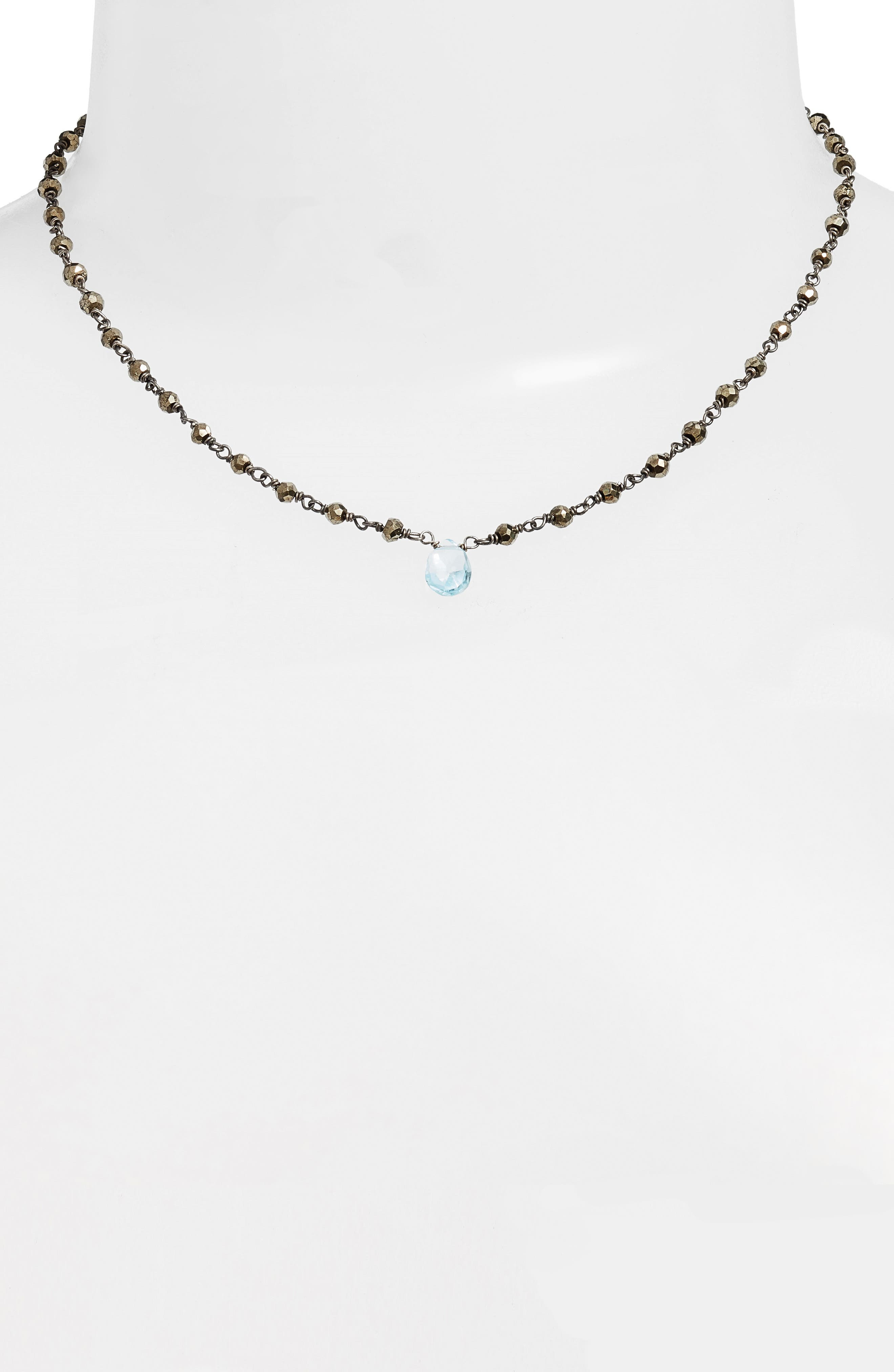 Beaded Collar Necklace,                             Alternate thumbnail 2, color,                             PYRITE/ BLUE TOPAZ