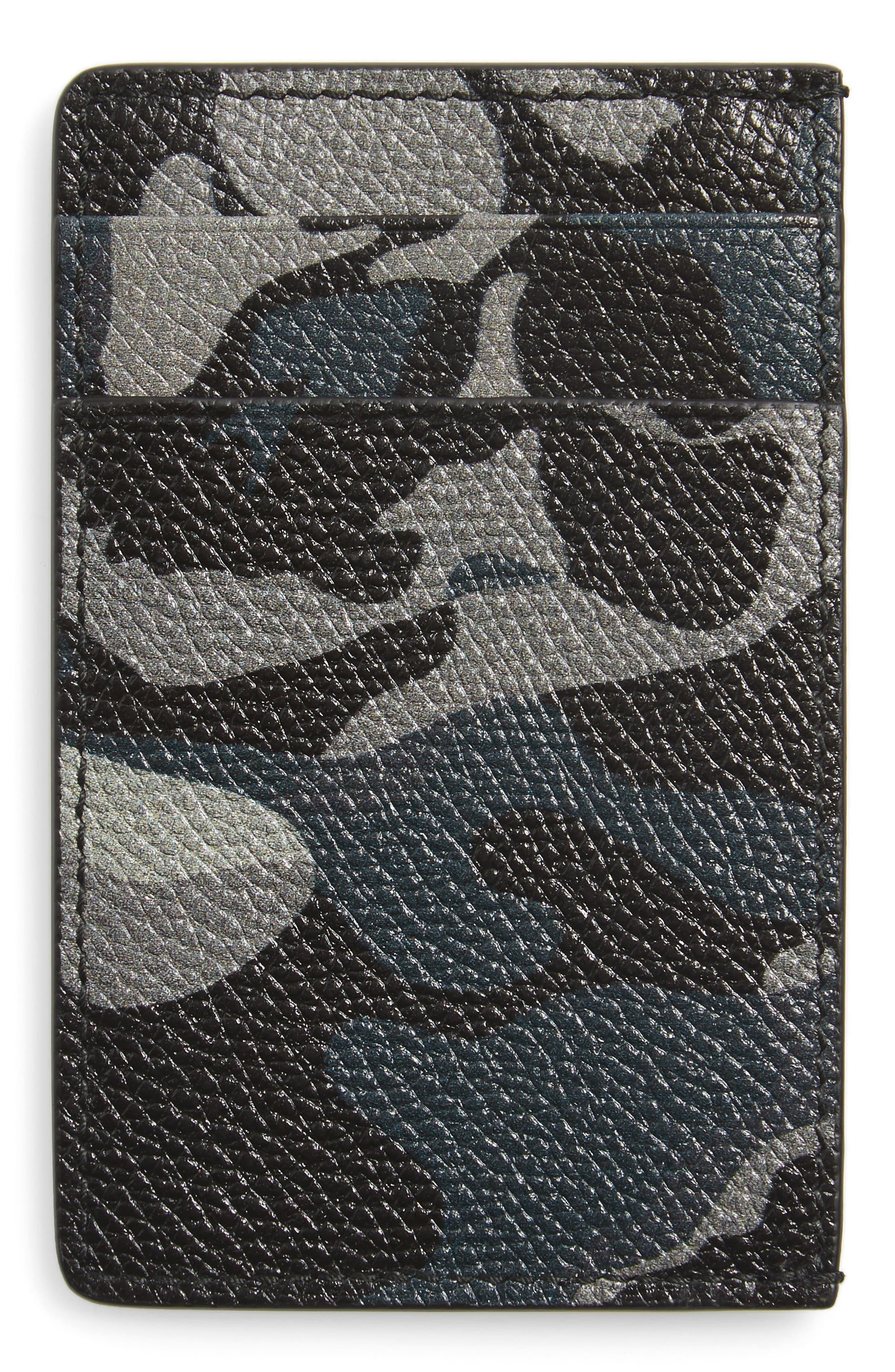 Camo Leather Card Case,                             Alternate thumbnail 2, color,                             001