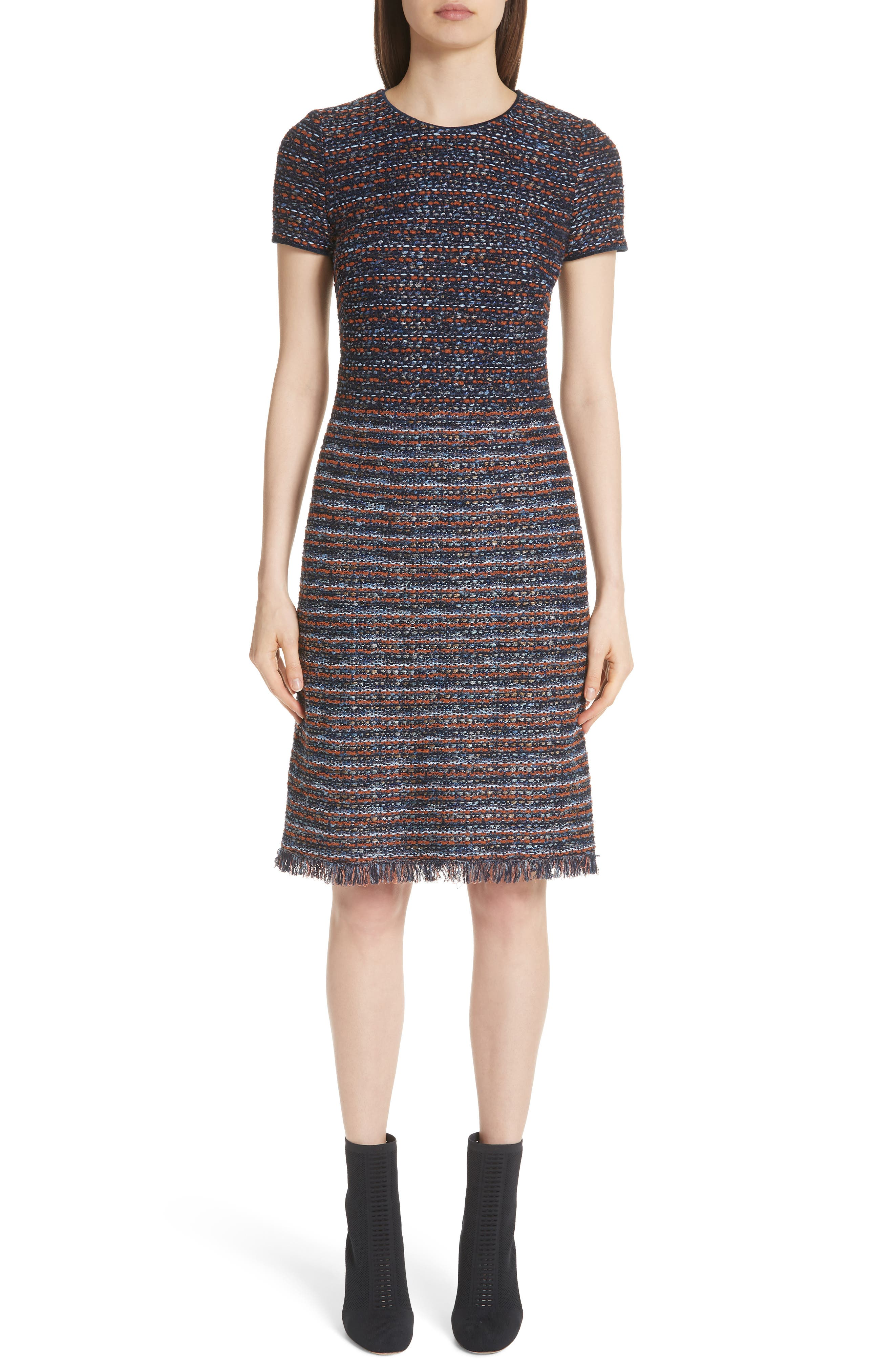 St. John Collection Ombre Ribbon Knit Dress, Blue