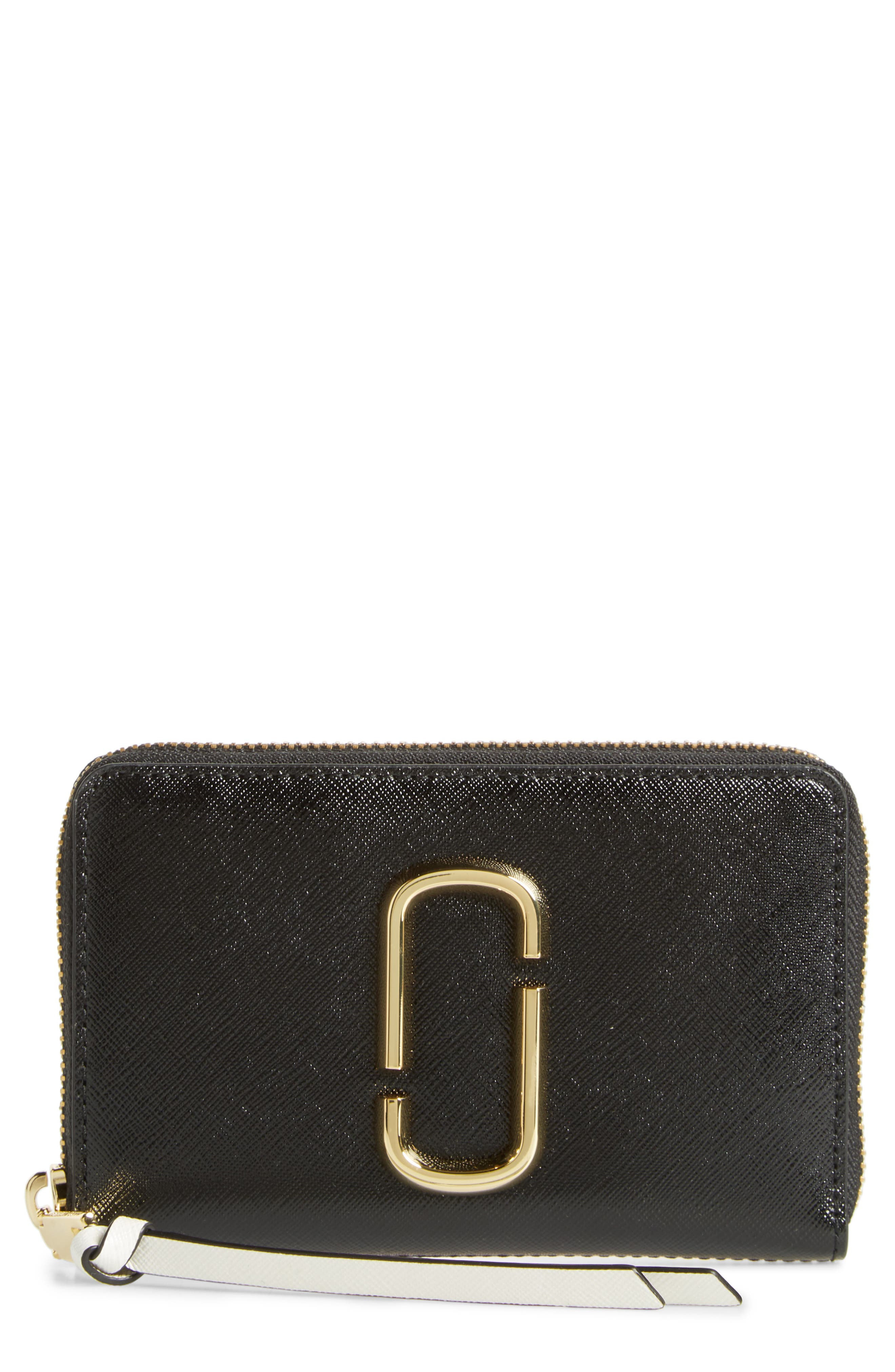 Small Snapshot Leather Zip-Around Wallet,                         Main,                         color, BLACK/ BABY PINK