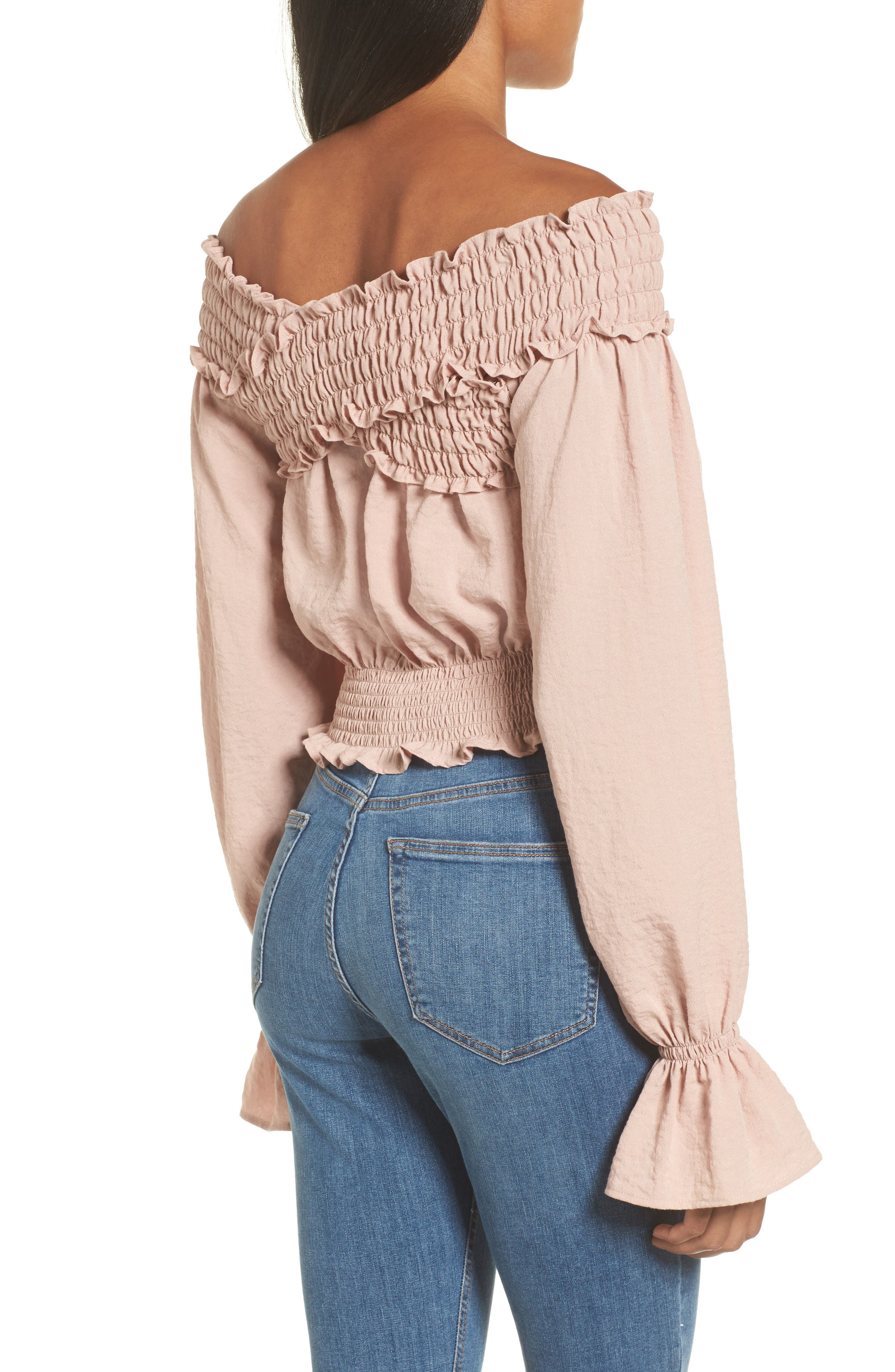 Delany Off the Shoulder Crop Top,                             Alternate thumbnail 2, color,                             650