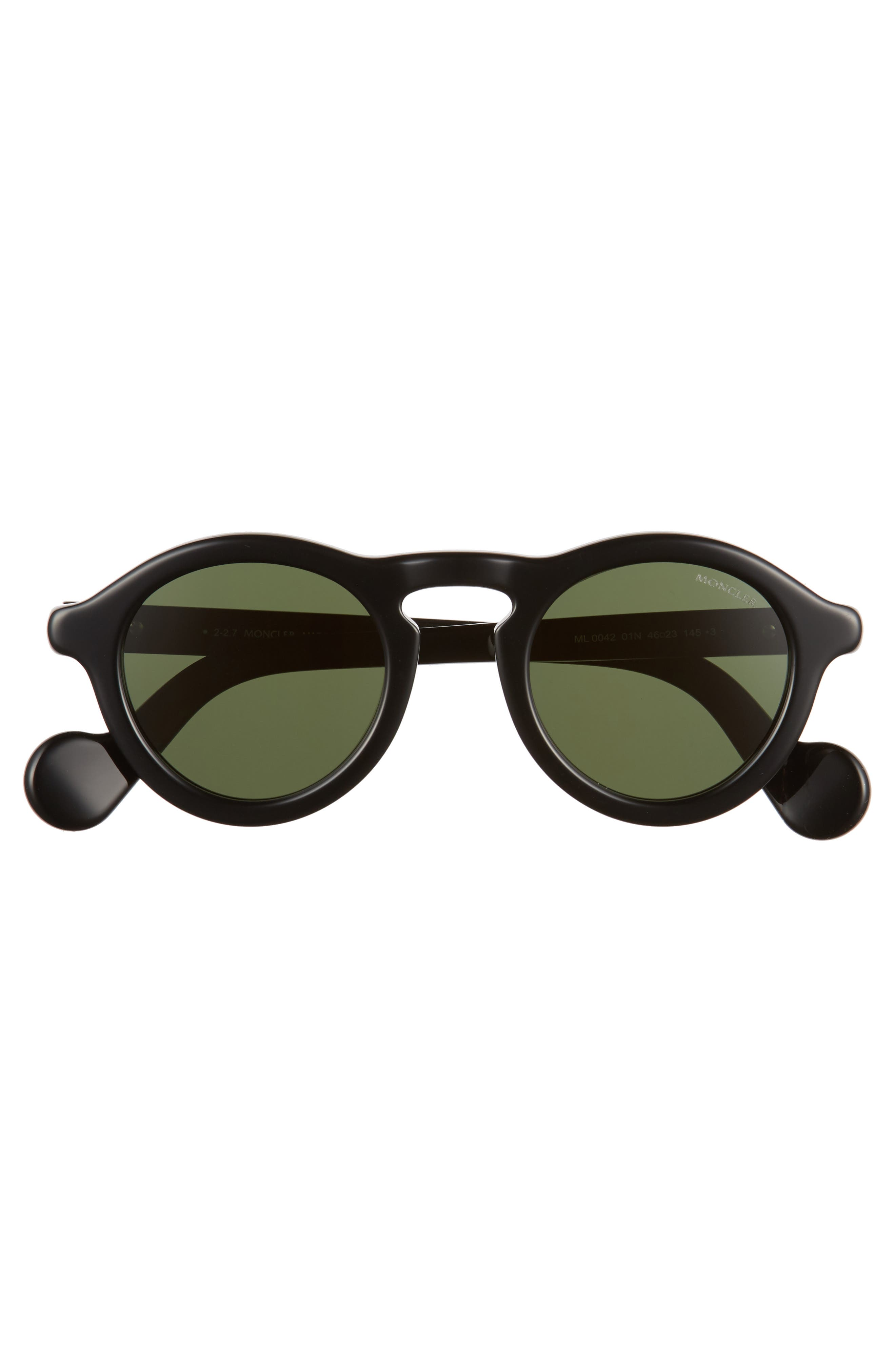 46mm Round Sunglasses,                             Alternate thumbnail 3, color,                             BLACK/ VINTAGE GREEN