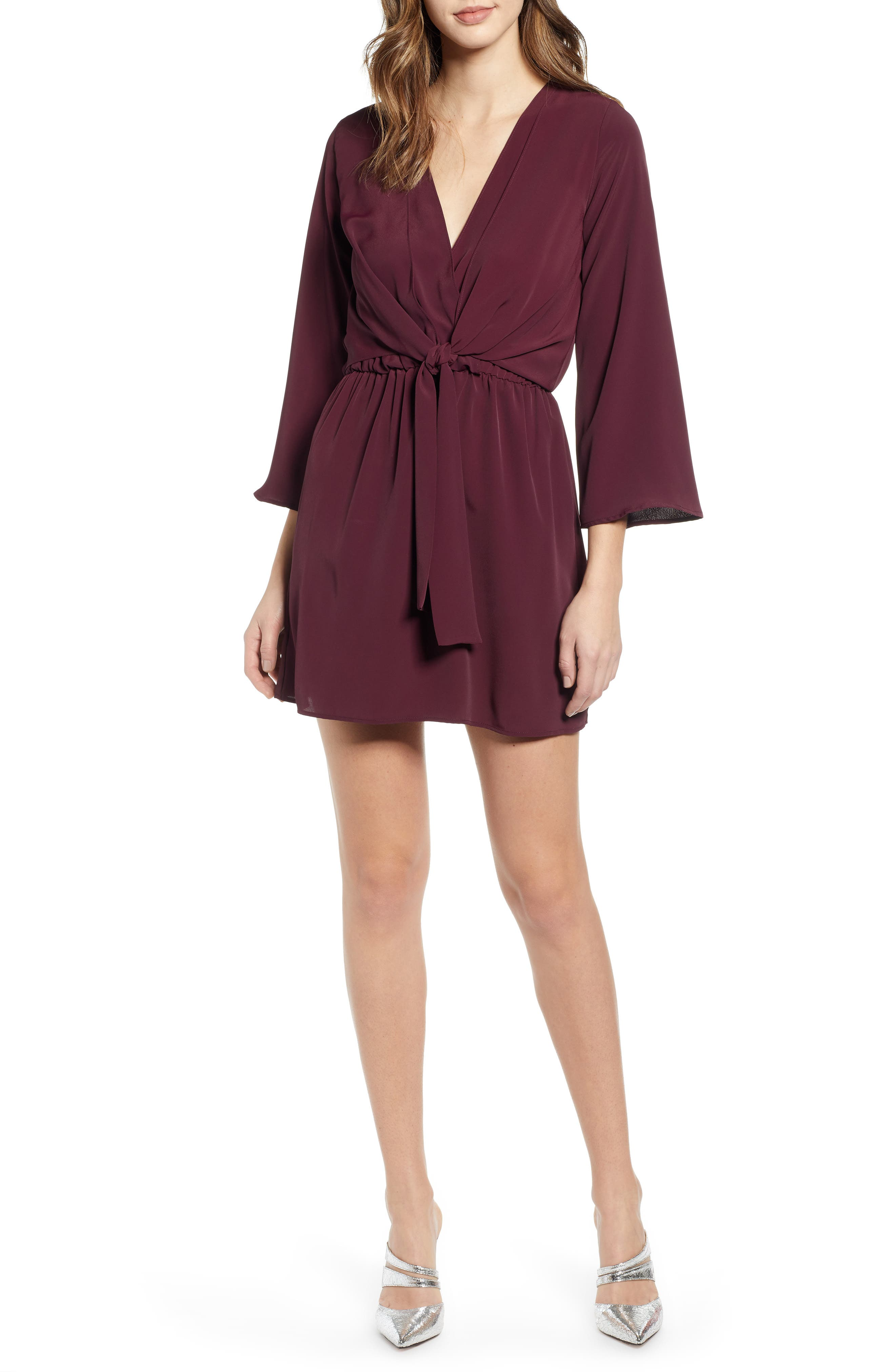 Topshop Tiffany Knot Minidress, US (fits like 10-12) - Burgundy