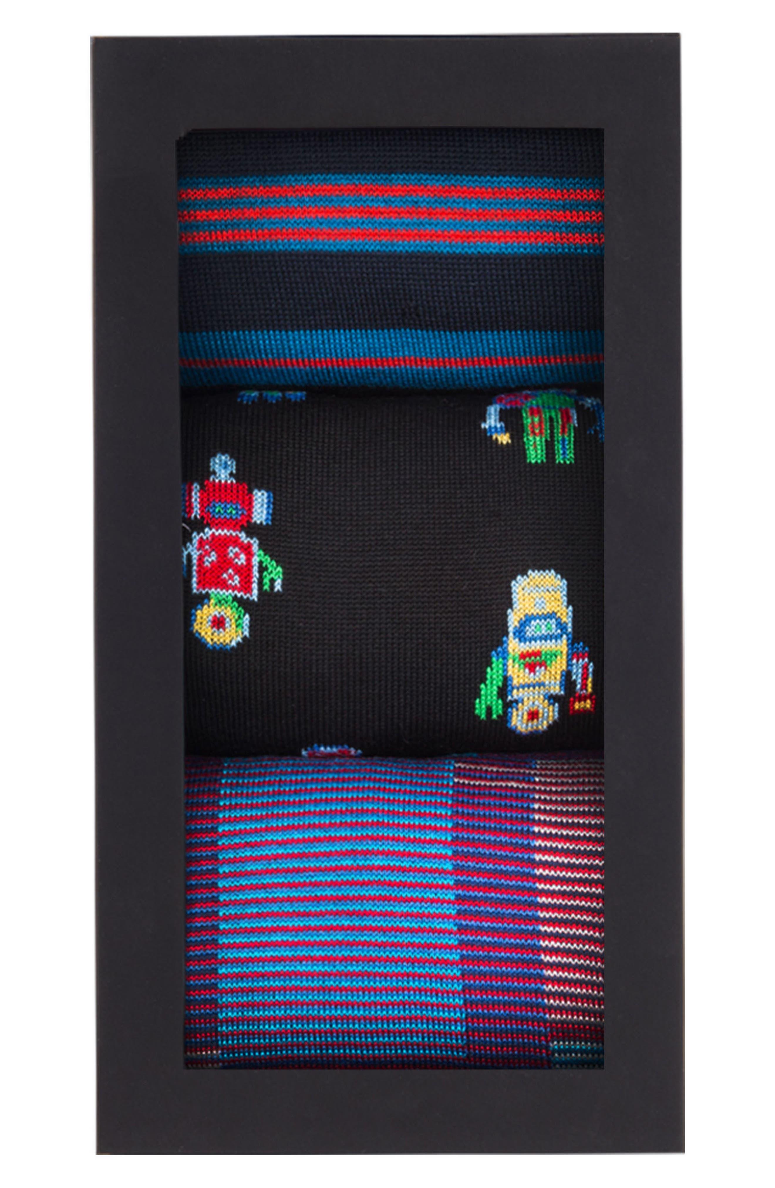 3-Pack Assorted Mercerized Cotton Blend Sock Gift Set,                             Alternate thumbnail 2, color,                             410