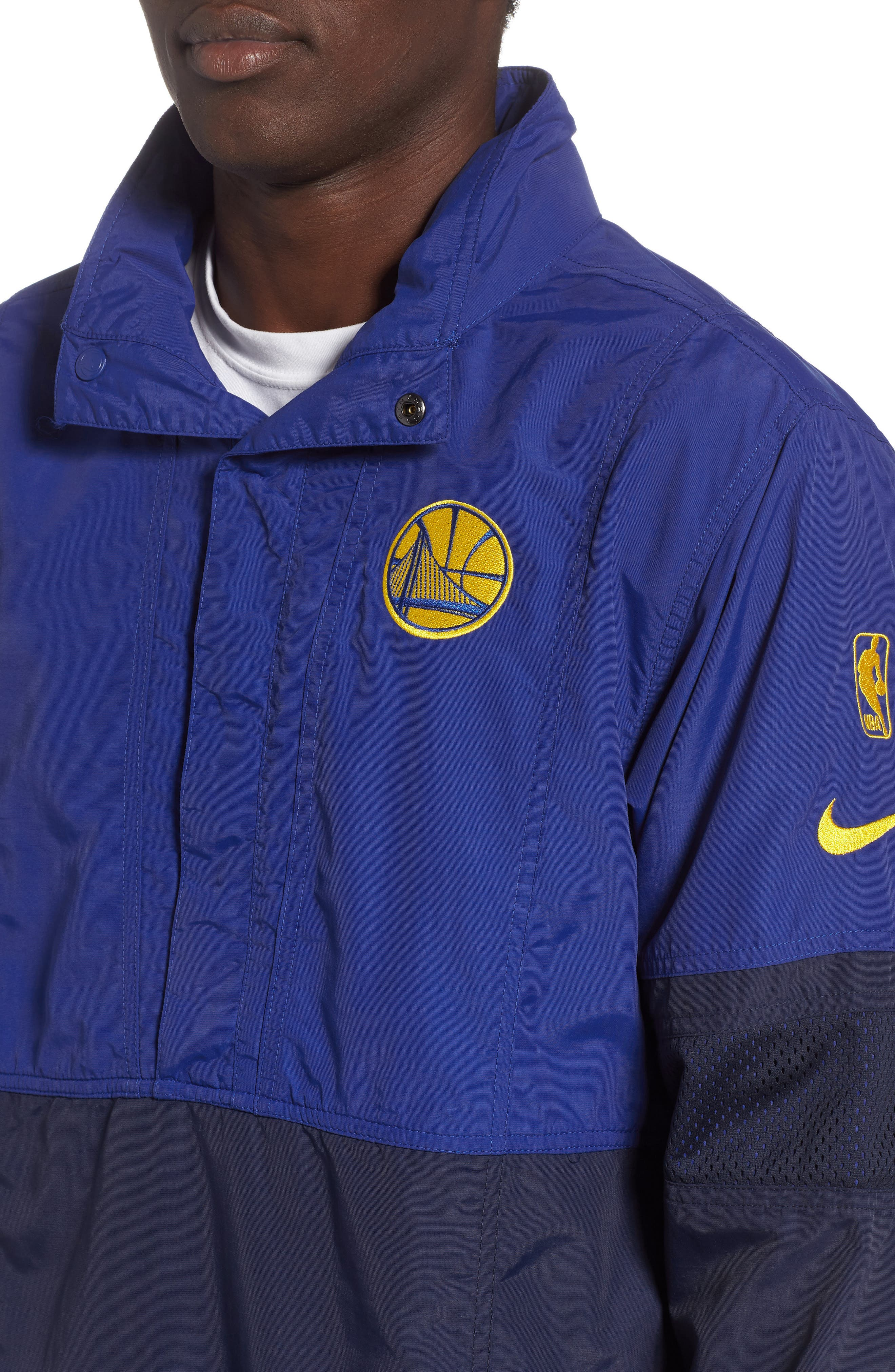 Golden State Warriors Courtside Warm-Up Jacket,                             Alternate thumbnail 4, color,                             RUSH BLUE/ NAVY/ AMARILLO